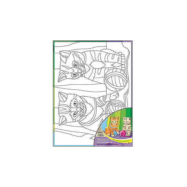 Холст с красками Котята с клубками, 30х40 смРаскраски по номерам<br>Для любителей творчества прекрасно подойдет набор Котята с клубками. Ребенок раскрасит нанесенный на холст эскиз яркими акриловыми красками. Такое творчество поможет развить аккуратность, усидчивость и художественные навыки. Готовую картину можно подарить друзьям или оставить для украшения своей комнаты.<br><br>Дополнительная информация:<br>В наборе: холст-эскиз, 16 акриловых красок, кисточка<br>Размер: 30х1,5х40 см<br>Вес: 370 грамм<br>Вы можете приобрести холст с красками Котята с клубками в нашем интернет-магазине.<br><br>Ширина мм: 400<br>Глубина мм: 15<br>Высота мм: 300<br>Вес г: 370<br>Возраст от месяцев: 36<br>Возраст до месяцев: 120<br>Пол: Унисекс<br>Возраст: Детский<br>SKU: 4939551