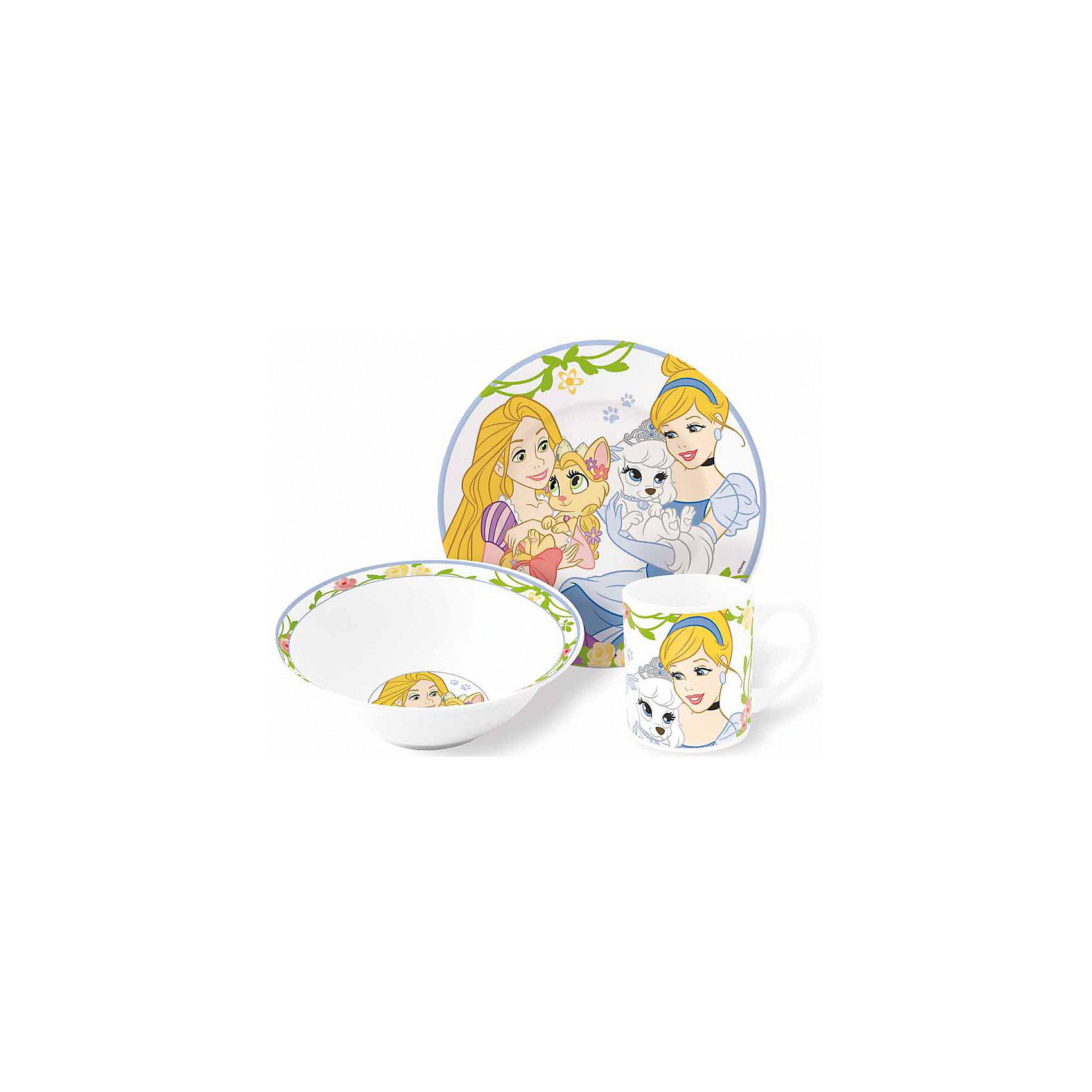 Набор керамической посуды Королевские питомцы (3 предмета)Посуда<br>Набор керамической посуды Королевские питомцы (3 предмета) – прием пищи с любимыми героями.<br>Красочный набор посуды с известными героями понравится ребенку с первого взгляда. Сервиз сделан из крепкой керамики, поэтому он безопасен для детей. Его можно мыть в посудомоечной машине или разогревать в микроволновке. Состоит набор из двух тарелок (для супа и второго) и объемной кружки. Подойдет для подарка, благодаря красивому оформлению. <br><br><br>Дополнительно:<br><br>- размер: тарелка – 19см, суповая тарелка – 18см, кружка – 210мл<br>- материал: керамика<br>- возраст: от 3 лет<br><br>Набор керамической посуды Королевские питомцы (3 предмета) можно купить в нашем интернет магазине.<br><br>Ширина мм: 250<br>Глубина мм: 85<br>Высота мм: 200<br>Вес г: 973<br>Возраст от месяцев: 36<br>Возраст до месяцев: 120<br>Пол: Женский<br>Возраст: Детский<br>SKU: 4940681
