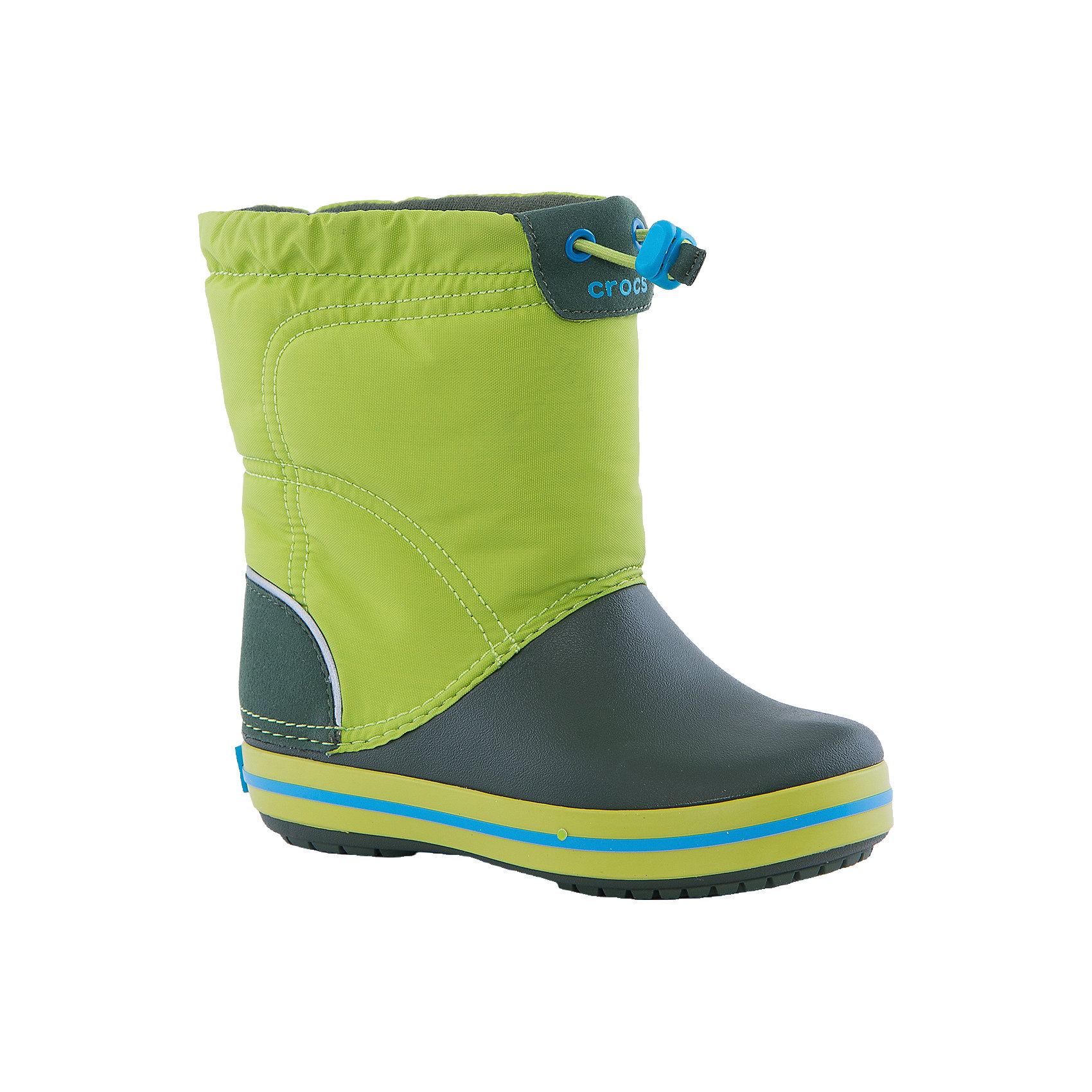 Резиновые сапоги Kids' Crocband LodgePoint Boot CrocsРезиновые сапоги<br>Характеристики товара:<br><br>• цвет: зеленый<br>• материал: верх - текстиль, низ -100% полимер Croslite™<br>• материал подкладки: текстиль<br>• непромокаемая носочная часть<br>• температурный режим: от -15° до +10° С<br>• легко очищаются<br>• антискользящая подошва<br>• застежка: шнурок со стоппером<br>• толстая устойчивая подошва<br>• страна бренда: США<br>• страна изготовитель: Китай<br><br>Сапоги могут быть и стильными, и теплыми! Для детской обуви крайне важно, чтобы она была удобной. Такие сапоги обеспечивают детям необходимый комфорт, а теплая подкладка создает особый микроклимат. Сапоги легко надеваются и снимаются, отлично сидят на ноге. Материал, из которого они сделаны, не дает размножаться бактериям, поэтому такая обувь препятствует образованию неприятного запаха и появлению болезней стоп. Данная модель особенно понравится детям - ведь в них можно бегать по лужам!<br>Обувь от американского бренда Crocs в данный момент завоевала широкую популярность во всем мире, и это не удивительно - ведь она невероятно удобна. Её носят врачи, спортсмены, звёзды шоу-бизнеса, люди, которым много времени приходится бывать на ногах - они понимают, как важна комфортная обувь. Продукция Crocs - это качественные товары, созданные с применением новейших технологий. Обувь отличается стильным дизайном и продуманной конструкцией. Изделие производится из качественных и проверенных материалов, которые безопасны для детей. <br><br>Резиновые сапоги от торговой марки Crocs можно купить в нашем интернет-магазине.<br><br>Ширина мм: 237<br>Глубина мм: 180<br>Высота мм: 152<br>Вес г: 438<br>Цвет: зеленый<br>Возраст от месяцев: 21<br>Возраст до месяцев: 24<br>Пол: Унисекс<br>Возраст: Детский<br>Размер: 24,34/35,27,28,29,30,23,25,26,31,33,34,31/32,33/34<br>SKU: 4940720