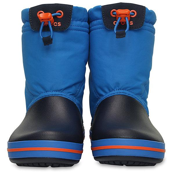 Сноубутсы Kids' Crocband Lodge Point Boot CrocsСноубутсы<br>Характеристики товара:<br><br>• цвет: синий<br>• материал: верх - текстиль, низ -100% полимер Croslite™<br>• материал подкладки: текстиль<br>• непромокаемая носочная часть<br>• температурный режим: от -15° до +10° С<br>• легко очищаются<br>• антискользящая подошва<br>• застежка: шнурок со стоппером<br>• толстая устойчивая подошва<br>• страна бренда: США<br>• страна изготовитель: Китай<br><br>Сапоги могут быть и стильными, и теплыми! Для детской обуви крайне важно, чтобы она была удобной. Такие сапоги обеспечивают детям необходимый комфорт, а теплая подкладка создает особый микроклимат. Сапоги легко надеваются и снимаются, отлично сидят на ноге. Материал, из которого они сделаны, не дает размножаться бактериям, поэтому такая обувь препятствует образованию неприятного запаха и появлению болезней стоп. Данная модель особенно понравится детям - ведь в них можно бегать по лужам!<br>Обувь от американского бренда Crocs в данный момент завоевала широкую популярность во всем мире, и это не удивительно - ведь она невероятно удобна. Её носят врачи, спортсмены, звёзды шоу-бизнеса, люди, которым много времени приходится бывать на ногах - они понимают, как важна комфортная обувь. Продукция Crocs - это качественные товары, созданные с применением новейших технологий. Обувь отличается стильным дизайном и продуманной конструкцией. Изделие производится из качественных и проверенных материалов, которые безопасны для детей. <br><br>Сапоги от торговой марки Crocs можно купить в нашем интернет-магазине.<br><br>Ширина мм: 257<br>Глубина мм: 180<br>Высота мм: 130<br>Вес г: 420<br>Цвет: синий<br>Возраст от месяцев: 96<br>Возраст до месяцев: 108<br>Пол: Унисекс<br>Возраст: Детский<br>Размер: 31/32,34,33,31,26,25,24,30,29,28,27,23,34/35,33/34<br>SKU: 4940745