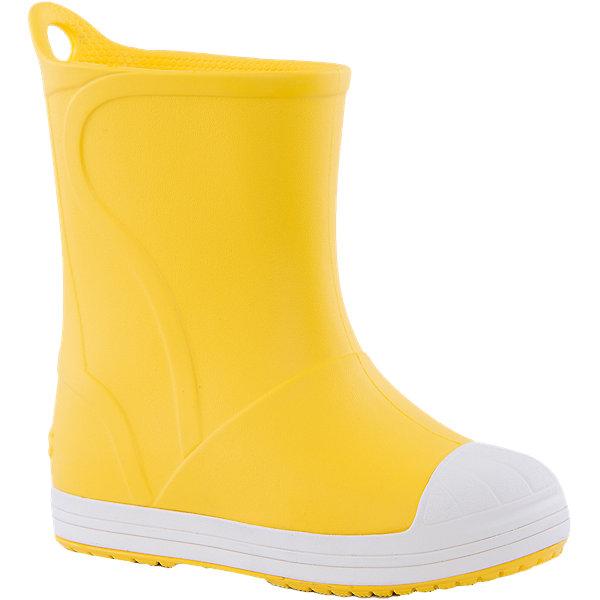 Резиновые сапоги Kids' Crocs Bump It Rain Boot Crocs, желтыйРезиновые сапоги<br>Характеристики товара:<br><br>• цвет: желтый<br>• сезон: демисезон, лето<br>• материал: 100% полимер Croslite™<br>• непромокаемые<br>• температурный режим: от 0° до +20° С<br>• легко очищаются<br>• антискользящая подошва<br>• язычок для удобного надевания<br>• толстая устойчивая подошва<br>• страна бренда: США<br>• страна изготовитель: Китай<br><br>Сапоги могут быть и стильными, и непромокаемыми! <br><br>Для детской обуви крайне важно, чтобы она была удобной. <br><br>Такие сапоги обеспечивают детям необходимый комфорт, а надежный материал не пропускает внутрь воду. <br><br>Сапоги легко надеваются и снимаются, отлично сидят на ноге. <br><br>Материал, из которого они сделаны, не дает размножаться бактериям, поэтому такая обувь препятствует образованию неприятного запаха и появлению болезней стоп. <br><br>Данная модель особенно понравится детям - ведь в них можно бегать по лужам!<br><br>Резиновые сапоги Kids' Crocs Bump It Rain Boot Crocs от торговой марки Crocs можно купить в нашем интернет-магазине.<br>Ширина мм: 237; Глубина мм: 180; Высота мм: 152; Вес г: 438; Цвет: желтый; Возраст от месяцев: 36; Возраст до месяцев: 48; Пол: Унисекс; Возраст: Детский; Размер: 27,34/35,33/34,31/32,34,33,31,26,25,24,23,30,29,28; SKU: 4940793;