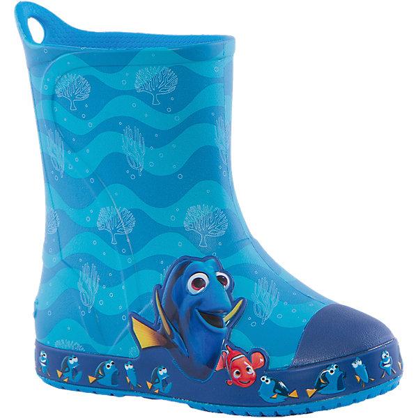 Резиновые сапоги Bump It Finding Dory Boot Crocs, голубойРезиновые сапоги<br>Характеристики товара:<br><br>• цвет: голубой<br>• принт: Дори, В поисках Немо<br>• сезон: демисезон, лето<br>• материал: 100% полимер Croslite™<br>• непромокаемые<br>• температурный режим: от 0° до +20° С<br>• легко очищаются<br>• антискользящая подошва<br>• язычок для удобного надевания<br>• толстая устойчивая подошва<br>• страна бренда: США<br>• страна изготовитель: Китай<br><br>Сапоги могут быть и стильными, и непромокаемыми! <br><br>Для детской обуви крайне важно, чтобы она была удобной. <br><br>Такие сапоги обеспечивают детям необходимый комфорт, а надежный материал не пропускает внутрь воду. <br><br>Сапоги легко надеваются и снимаются, отлично сидят на ноге. <br><br>Материал, из которого они сделаны, не дает размножаться бактериям, поэтому такая обувь препятствует образованию неприятного запаха и появлению болезней стоп. <br><br>Данная модель особенно понравится детям - ведь в них можно бегать по лужам!<br><br>Резиновые сапоги Bump It Finding Dory Boot Crocs от торговой марки Crocs можно купить в нашем интернет-магазине.<br>Ширина мм: 237; Глубина мм: 180; Высота мм: 152; Вес г: 438; Цвет: синий; Возраст от месяцев: 18; Возраст до месяцев: 21; Пол: Унисекс; Возраст: Детский; Размер: 23,30,34/35,33/34,31/32,34,29,28,33,31,27,26,25,24; SKU: 4940805;