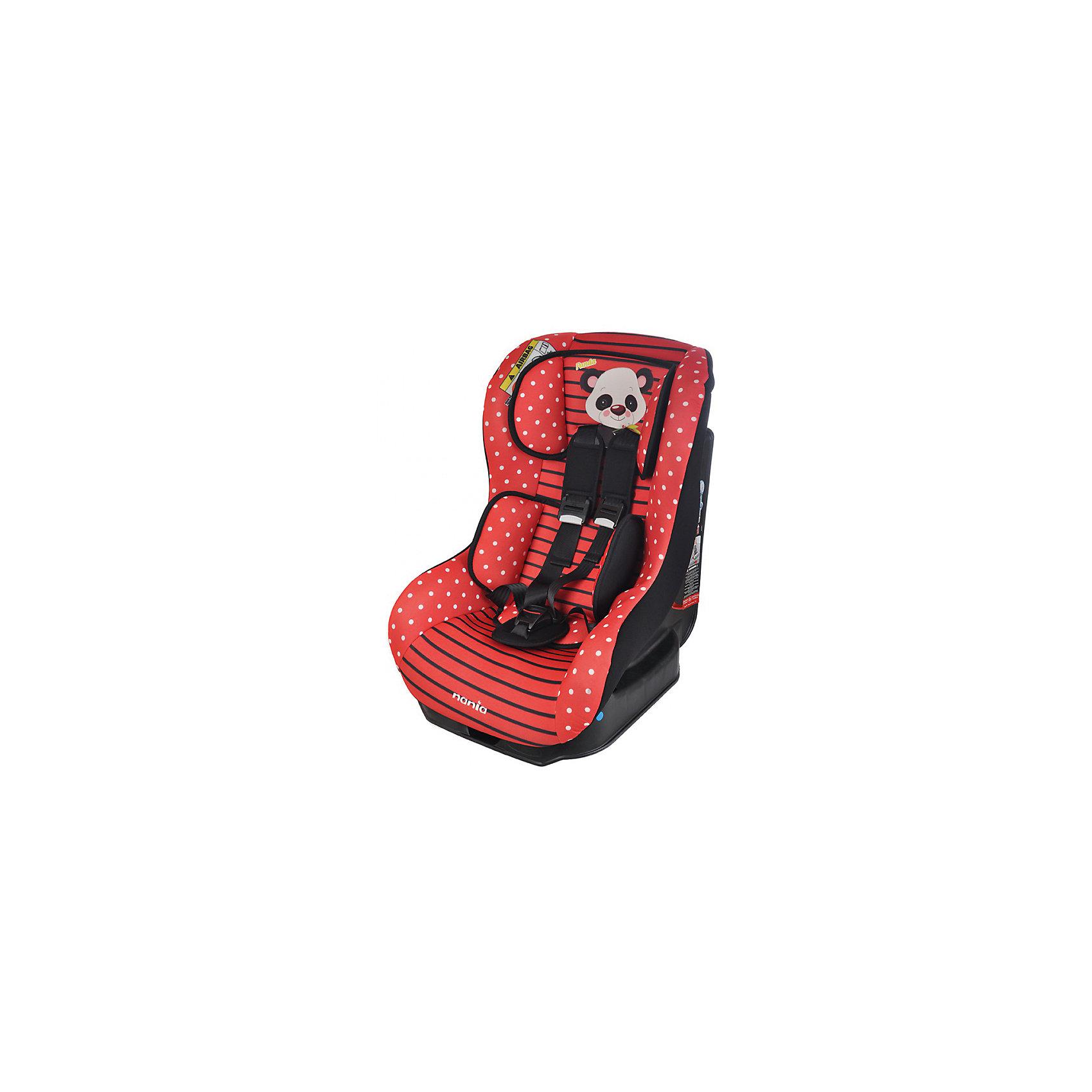 Автокресло Nania Driver 0-18 кг, panda redГруппа 0+, 1 (До 18 кг)<br>Автокресло Driver, 0-18 кг., Nania, panda red – удобство и безопасность для вашего малыша.<br>Кресло сделано из прочного полипропилена и имеет пятиточечные ремни безопасности с возможностью отрегулировать по размеру ребенка. Спинку кресла можно опускать до положения полулежа, а мягкая подушка под голову даст ребенку возможность поспать в дороге. Модель подойдет для детей от 0 до 18 килограмм. Кресло легко крепится как походу движения, так и против. Соответствует всем современным требованиям к безопасности. Кресло легко стирать благодаря съемному чехлу. <br>Дополнительная информация:<br><br>- цвет: розовый, черный<br>- материал: текстиль, пластик<br>- вес ребенка: 0 до 18 кг<br>- вес кресла: 12,5 кг<br>- размер: 61x57x46<br><br>Автокресло Driver, 0-18 кг., Nania, panda red можно купить в нашем магазине.<br><br>Ширина мм: 460<br>Глубина мм: 520<br>Высота мм: 600<br>Вес г: 12490<br>Возраст от месяцев: 0<br>Возраст до месяцев: 48<br>Пол: Унисекс<br>Возраст: Детский<br>SKU: 4940924