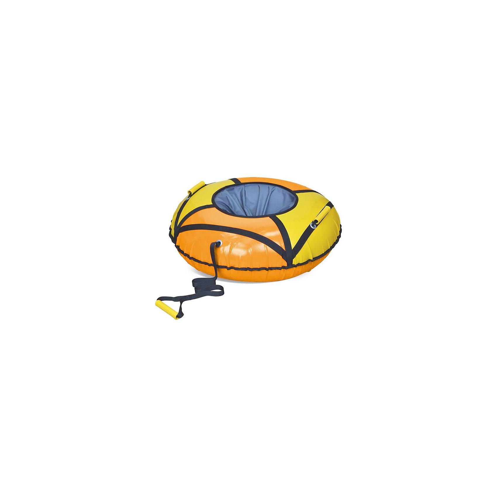 Тюбинг, 85 см, НикаТюбинг, 85 см, Ника.<br><br>Характеристики:<br><br>- Материал: ПВХ, текстиль<br>- Цвет: оранжевый, желтый<br>- Верх: 550 гр/кв.м<br>- Дно: 550 гр/кв.м<br>- Усиленная камера<br>- Максимальная нагрузка: 90 кг.<br>- Диаметр тюбинга в сдутом состоянии: 93 см.<br>- Диаметр тюбинга в надутом состоянии: 85 см.<br>- Вес: 2,56 кг.<br><br>Тюбинг от Ника сделает катание с горки еще более веселым и интересным. Тюбинг выполнен в яркой красочной расцветке и будет отчетливо виден на снежном фоне. Прочное удобное сиденье убережет от травм и обеспечит комфорт во время катания. Тюбинг изготовлен из высококачественной тентовой ПВХ ткани с глянцевой поверхностью. Материал выдерживает морозы до -25 С. Усиленная камера входит в комплект изделия. Все швы усилены капроновой лентой. Имеется защитный внутренний клапан с потайной молнией. Тюбинг оснащен текстильными ручками, за которые удобно держаться во время спуска и буксировочным тросом. Катание на тюбинге тренирует силу, выносливость, координацию движений и вестибулярный аппарат.<br><br>Тюбинг, 85 см, Ника можно купить в нашем интернет-магазине.<br><br>Ширина мм: 820<br>Глубина мм: 260<br>Высота мм: 160<br>Вес г: 2500<br>Возраст от месяцев: -2147483648<br>Возраст до месяцев: 2147483647<br>Пол: Унисекс<br>Возраст: Детский<br>SKU: 4941357