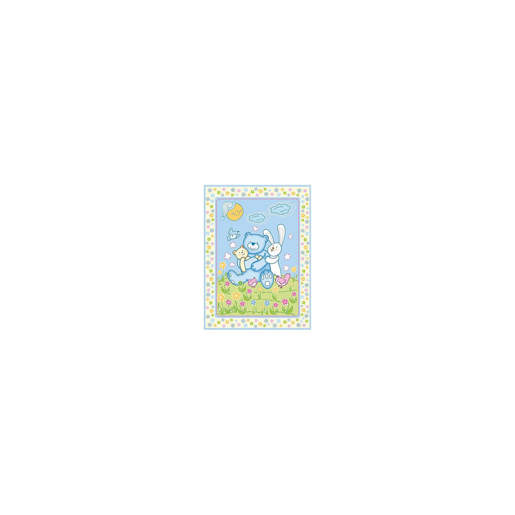 яло байковое Мишка на лужайке, 100х118 2-сторон., Baby Nice, голубой