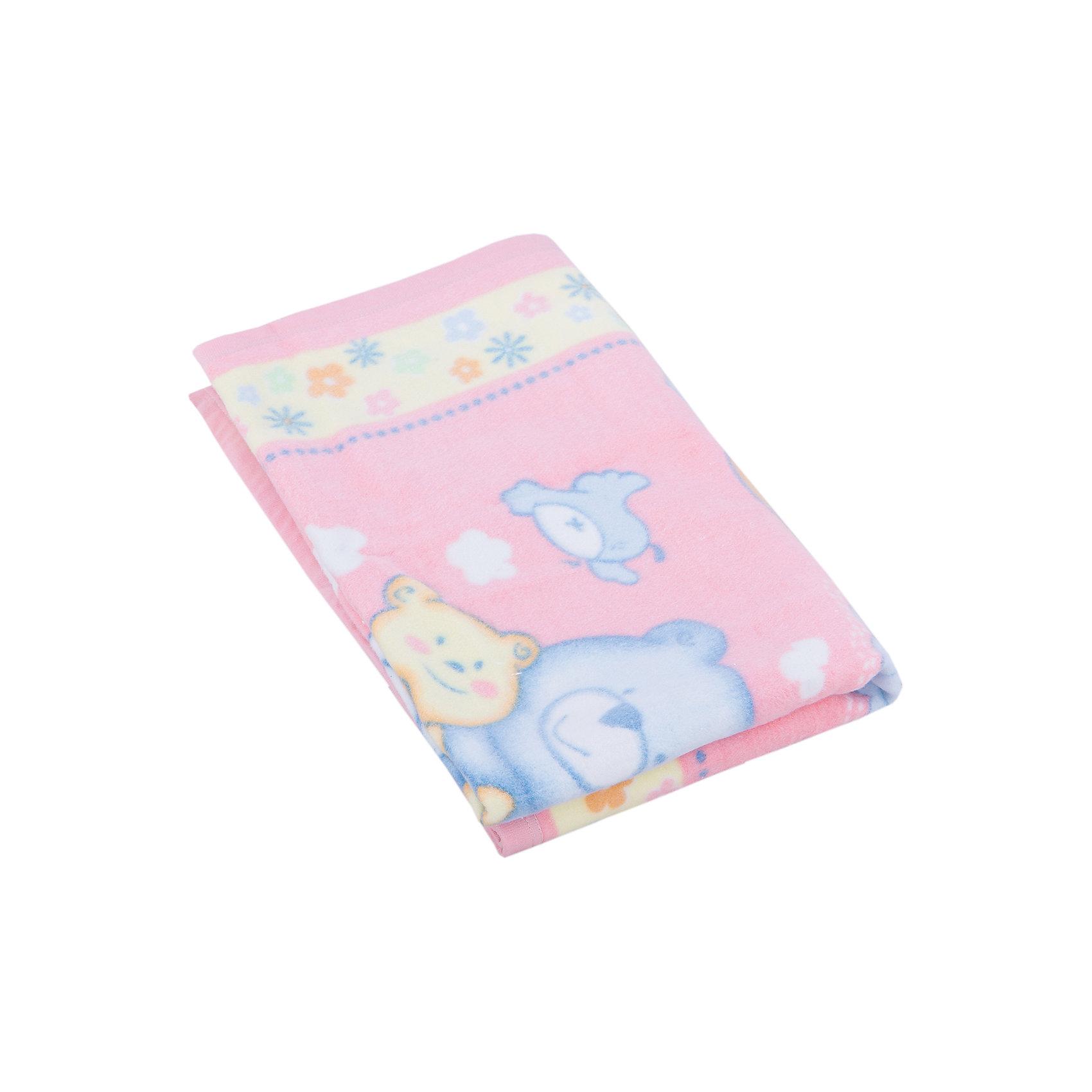 яло байковое Мишка на лужайке, 100х118 2-сторон., Baby Nice, розовый