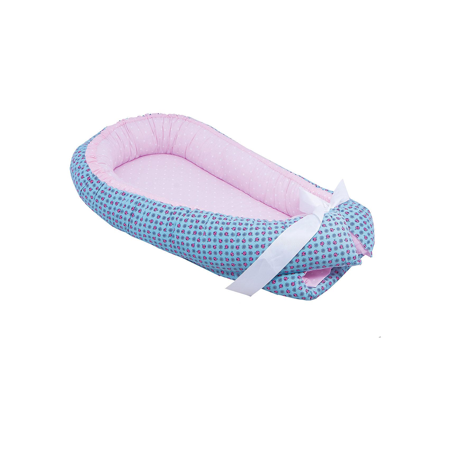 Baby Nice Бортик Гнездышко, Божья коровка, 85х45см, Baby Nice, голубой baby nice бортик мишки бязь baby nice розовый