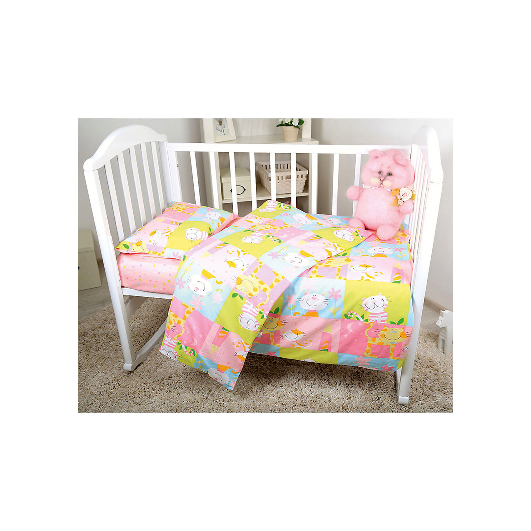 Baby Nice Постельное белье Мишки 3 пред., бязь 60х120, Baby Nice, розовый baby nice бортик мишки бязь baby nice розовый