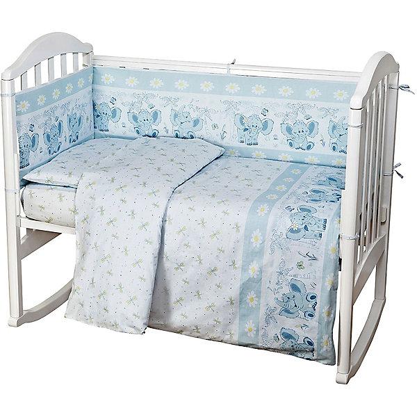 Комплект в кроватку 6 предметов Baby Nice, Слоник, голубойПостельное белье в кроватку новорождённого<br>Малыши требуют особой заботы. Постельное белье для них должно быть качественным и безопасным. Этот комплект обеспечит малышу комфорт и тепло в кроватке. Он украшен симпатичным принтом.<br>Набор сшит из натуральной дышащего материала - хлопка, мягкого и приятного на ощупь. Она не вызывает аллергии, что особенно важно для малышей. Также материал обеспечит хорошую терморегуляцию. Комплект сделан из высококачественных материалов, безопасных для ребенка.<br><br>Дополнительная информация:<br><br>цвет: голубой;<br>материал: 100% хлопок, наполнитель - файбер;<br>комплектация: простыня 112 х 147 см, пододеяльник 112 х 147 см, наволочка 40 х 60, борт( 120х35-2 шт., 60х35-2 шт.), одеяло 110 х 140 см, подушка 40 х 60 см.;<br>принт.<br><br>Постельное белье  Слоник 6 пред., от компании Baby Nice можно купить в нашем магазине.<br>Ширина мм: 250; Глубина мм: 600; Высота мм: 450; Вес г: 1200; Возраст от месяцев: 0; Возраст до месяцев: 36; Пол: Унисекс; Возраст: Детский; SKU: 4941788;