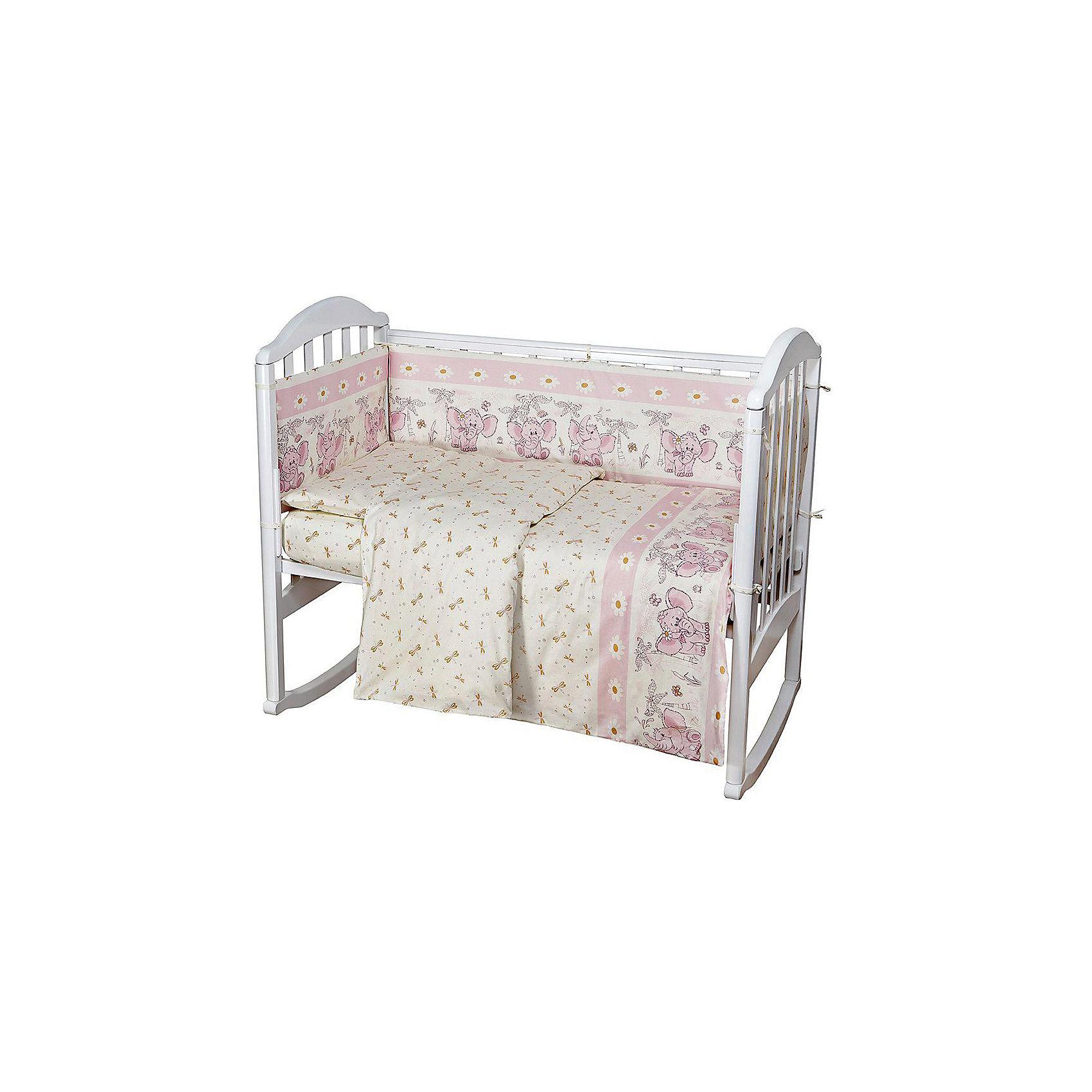 Baby Nice Постельное белье Слоник 6 пред., Baby Nice, розовый baby nice постельное белье ежик 3 пред бязь 60х120 baby nice