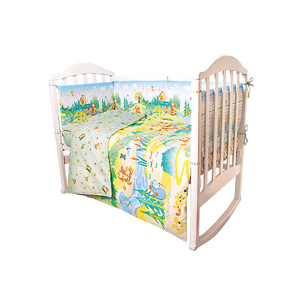 Постельное белье Гуси-лебеди Сказки 6 пред., Baby Nice, салатовыйПостельное белье в кроватку новорождённого<br>Постельное белье для малышей должно быть качественным и безопасным. Этот комплект обеспечит малышу комфорт и тепло в кроватке. Он украшен симпатичным принтом.<br>Набор сшит из натуральной дышащего материала - хлопка, мягкого и приятного на ощупь. Она не вызывает аллергии, что особенно важно для малышей. Также материал обеспечит хорошую терморегуляцию. Комплект сделан из высококачественных материалов, безопасных для ребенка.<br><br>Дополнительная информация:<br><br>цвет: салатовый;<br>материал: 100% хлопок, наполнитель - файбер;<br>комплектация: простыня 112 х 147 см, пододеяльник 112 х 147 см, наволочка 40 х 60, борт( 120х35-2 шт., 60х35-2 шт.), одеяло 110 х 140 см, подушка 40 х 60 см.;<br>принт.<br><br>Постельное белье Гуси-лебеди Сказки 6 пред., от компании Baby Nice можно купить в нашем магазине.<br>Ширина мм: 250; Глубина мм: 600; Высота мм: 450; Вес г: 1200; Возраст от месяцев: 0; Возраст до месяцев: 36; Пол: Унисекс; Возраст: Детский; SKU: 4941791;