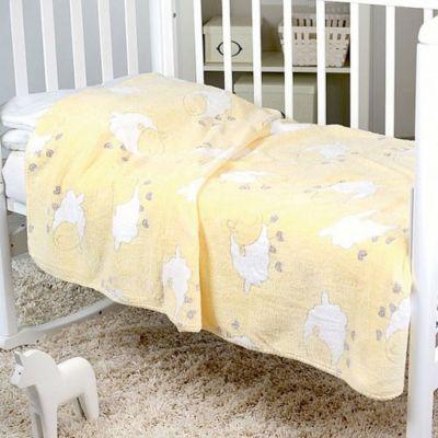 Плед-покрывало Барашки 100х118 Velsoft 2-стороннее оверлок, Baby Nice, желтый фото-1