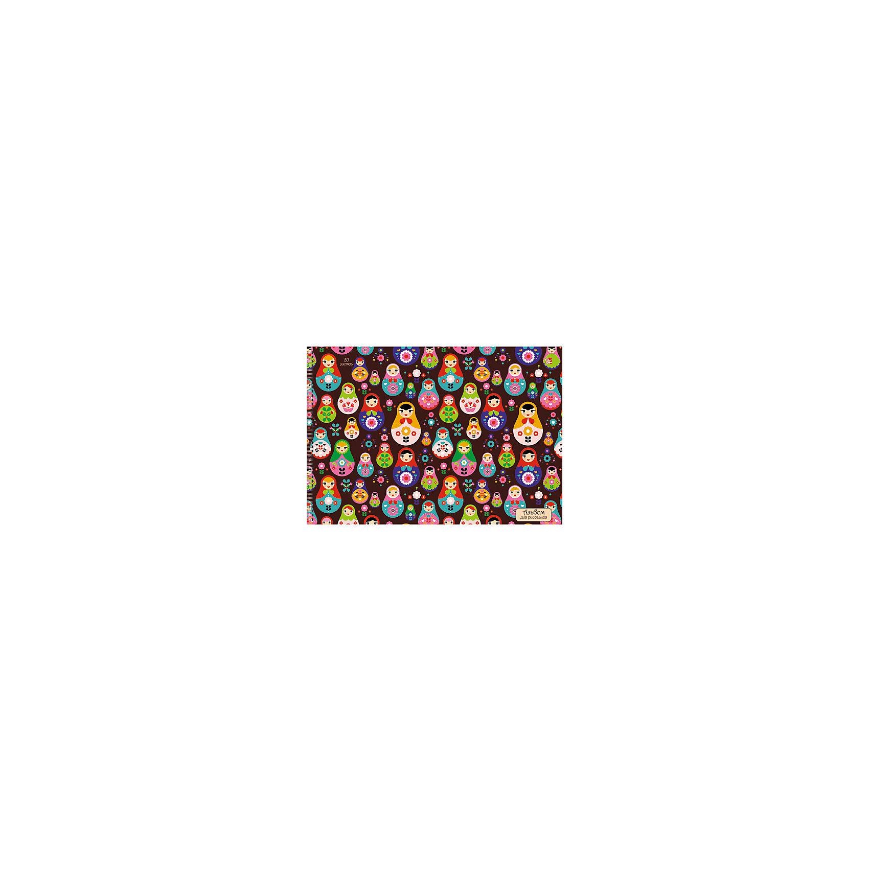 Альбом для рисования Яркие матрешки, 40лАльбом для рисования Яркие матрешки с красочными матрешками на обложке привлекут внимание и вызовут интерес к творчеству. Рисование хорошо развивает аккуратность, усидчивость и художественные навыки. Альбом из плотной бумаги с привлекательной обложкой - то, что нужно для первых картин будущего художника!<br><br>Дополнительная информация:<br>Количество листов: 40<br>Скрепление: спираль<br>Обложка: мелованный картон, сплошной глянцевый лак<br>Бумага: офсет, плотностью 120 г/м2<br>Альбом для рисования Яркие матрешки вы можете приобрести в нашем интернет-магазине.<br><br>Ширина мм: 210<br>Глубина мм: 297<br>Высота мм: 13<br>Вес г: 314<br>Возраст от месяцев: 72<br>Возраст до месяцев: 144<br>Пол: Унисекс<br>Возраст: Детский<br>SKU: 4942446