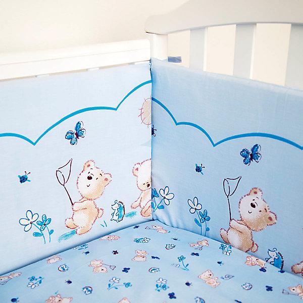 Бортик Мишки, бязь, Baby Nice, голубойПостельное белье в кроватку новорождённого<br>Бортик Мишки, бязь, Baby Nice, голубой.<br><br>Характеристики:<br><br>- Состоит из четырех частей: 120х32 см - 2 шт., 60х35 см - 2 шт.<br>- Материал верха: бязь (100% хлопок)<br>- Чехлы не снимаются<br>- Наполнитель: периотек<br>- Цвет: голубой<br><br>Бортик для детской кроватки «Мишки» обеспечит Вашему малышу комфорт и безопасность. Борт защитит младенца от сквозняков, пыли и солнца, а когда малыш подрастет и начнет активно двигаться и вставать в кроватке - убережет от возможных ушибов и травм. Кроме того, борт способствует более быстрому засыпанию, поскольку малыша ничего не будет отвлекать извне. Бортик выполнен в привлекательном для ребенка дизайне с нежно-голубой расцветкой и украшен рисунком с изображением забавных медвежат. Борт состоит из четырех частей, легко крепится по всему периметру кроватки при помощи текстильных завязок. Материал обшивки – бязь (100% хлопок), мягкая приятная на ощупь ткань не вызывает аллергии и хорошо пропускает воздух. Наполнитель – периотек — это современный нетканый материал, который состоит из полиэфирных волокон высокого качества. Периотек - упругий, объемный и долговечный материал, который при надавливании ведет себя как пружина. Он комфортен, антиаллергенен, не выделяет вредных веществ, т.к. изготовлен по технологии термоскрепления без применения клея и формальдегидных смол. В нем заводятся пылевые клещики и микроорганизмы. Мягкий удобный долговечный бортик «Мишки» от Baby Nice - это надежная и эстетичная защита вашего ребенка!<br><br>Бортик Мишки, бязь, Baby Nice, голубой можно купить в нашем интернет-магазине.<br><br>Ширина мм: 600<br>Глубина мм: 1200<br>Высота мм: 200<br>Вес г: 700<br>Возраст от месяцев: 0<br>Возраст до месяцев: 36<br>Пол: Унисекс<br>Возраст: Детский<br>SKU: 4943405