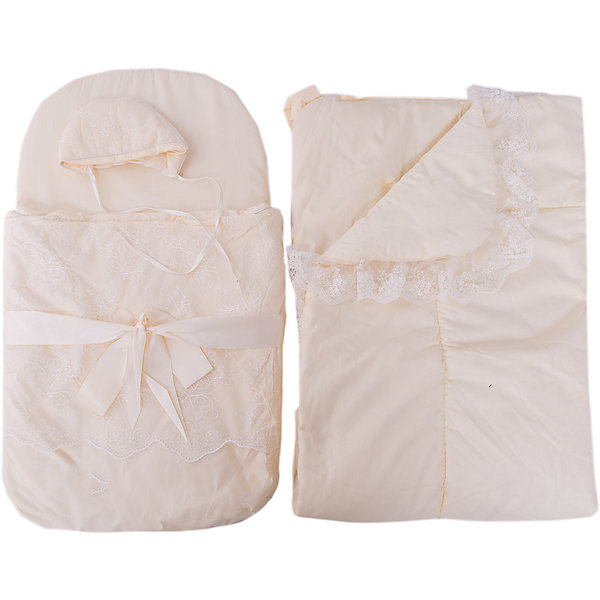 Набор на выписку: конверт, одеяло,чепчик, Baby Nice, бежевыйКомплекты<br>Набор на выписку: конверт, одеяло,чепчик, Baby Nice, бежевый.<br><br>Характеристики:<br><br>- В наборе: конверт, одеяло, чепчик<br>- Материал верха: сатин (100% хлопок)<br>- Подкладка: сатин (100% хлопок)<br>- Наполнитель: файберпласт (плотность 200 г/м2)<br>- Размер одеяла: 95х95 см.<br>- Размер конверта в сложенном виде: 75х45 см.<br>- Размер чепчика: глубина ок.10 см, обхват 50 см.<br>- Минимальный обхват головы: 32 см.<br>- Цвет: бежевый<br>- Инструкция по уходу: стирка в прохладной воде при температуре 30°С, гладить при низкой температуре, не отбеливать<br><br>Комплект на выписку от российского производителя Baby Nice прекрасно подойдет для выписки новорожденного из роддома. Комплект состоит из конверта, теплого одеяла и чепчика. В дальнейшем его можно использовать во время прогулок с малышом в коляске-люльке. Элементы комплекта изготовлены из сатина (100% хлопок). В качестве утеплителя используется файберпласт - качественный, легкий и неприхотливый в эксплуатации нетканый материал, который великолепно удерживает тепло, дышит, является гипоаллергенным, прекрасно стирается, практически не слеживается, быстро сохнет и не впитывает неприятные запахи. Конверт по бокам застегивается на длинную застежку-молнию с двойным бегунком. Передняя часть конверта отстегивается, что помогает нижнюю часть использовать как коврик. Конверт украшен ажурным кружевом и декоративным атласным бантом. Мягкое воздушное одеяло украшено неширокой вуалью и дополнено ленточкой для удобного пеленания. Мягкий чепчик, необходимый любому младенцу, защищает еще не заросший родничок, щадит чувствительный слух малыша, прикрывая ушки, и предохраняет от теплопотерь. Утепленный чепчик дополнен завязками. Оригинальный комплект на выписку порадует взгляд молодых родителей.<br><br>Набор на выписку: конверт, одеяло,чепчик, Baby Nice, бежевый можно купить в нашем интернет-магазине.<br>Ширина мм: 200; Глубина мм: 100; Высота мм: 100; В