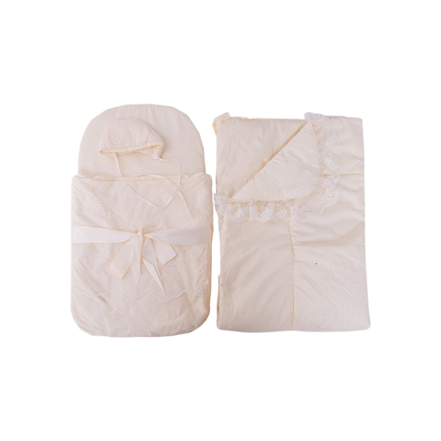 Набор на выписку: конверт, одеяло,чепчик, Baby Nice, бежевыйКомплекты<br>Набор на выписку: конверт, одеяло,чепчик, Baby Nice, бежевый.<br><br>Характеристики:<br><br>- В наборе: конверт, одеяло, чепчик<br>- Материал верха: сатин (100% хлопок)<br>- Подкладка: сатин (100% хлопок)<br>- Наполнитель: файберпласт (плотность 200 г/м2)<br>- Размер одеяла: 95х95 см.<br>- Размер конверта в сложенном виде: 75х45 см.<br>- Размер чепчика: глубина ок.10 см, обхват 50 см.<br>- Минимальный обхват головы: 32 см.<br>- Цвет: бежевый<br>- Инструкция по уходу: стирка в прохладной воде при температуре 30°С, гладить при низкой температуре, не отбеливать<br><br>Комплект на выписку от российского производителя Baby Nice прекрасно подойдет для выписки новорожденного из роддома. Комплект состоит из конверта, теплого одеяла и чепчика. В дальнейшем его можно использовать во время прогулок с малышом в коляске-люльке. Элементы комплекта изготовлены из сатина (100% хлопок). В качестве утеплителя используется файберпласт - качественный, легкий и неприхотливый в эксплуатации нетканый материал, который великолепно удерживает тепло, дышит, является гипоаллергенным, прекрасно стирается, практически не слеживается, быстро сохнет и не впитывает неприятные запахи. Конверт по бокам застегивается на длинную застежку-молнию с двойным бегунком. Передняя часть конверта отстегивается, что помогает нижнюю часть использовать как коврик. Конверт украшен ажурным кружевом и декоративным атласным бантом. Мягкое воздушное одеяло украшено неширокой вуалью и дополнено ленточкой для удобного пеленания. Мягкий чепчик, необходимый любому младенцу, защищает еще не заросший родничок, щадит чувствительный слух малыша, прикрывая ушки, и предохраняет от теплопотерь. Утепленный чепчик дополнен завязками. Оригинальный комплект на выписку порадует взгляд молодых родителей.<br><br>Набор на выписку: конверт, одеяло,чепчик, Baby Nice, бежевый можно купить в нашем интернет-магазине.<br><br>Ширина мм: 200<br>Глубина мм: 100<br>Высота мм