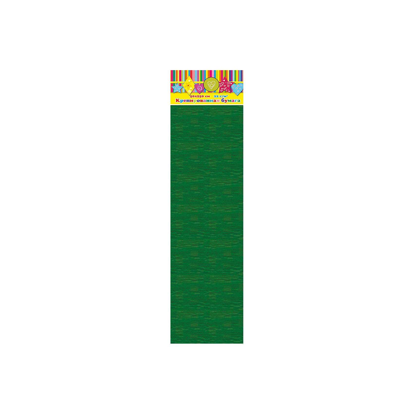 Бумага темно-зеленая крепированная