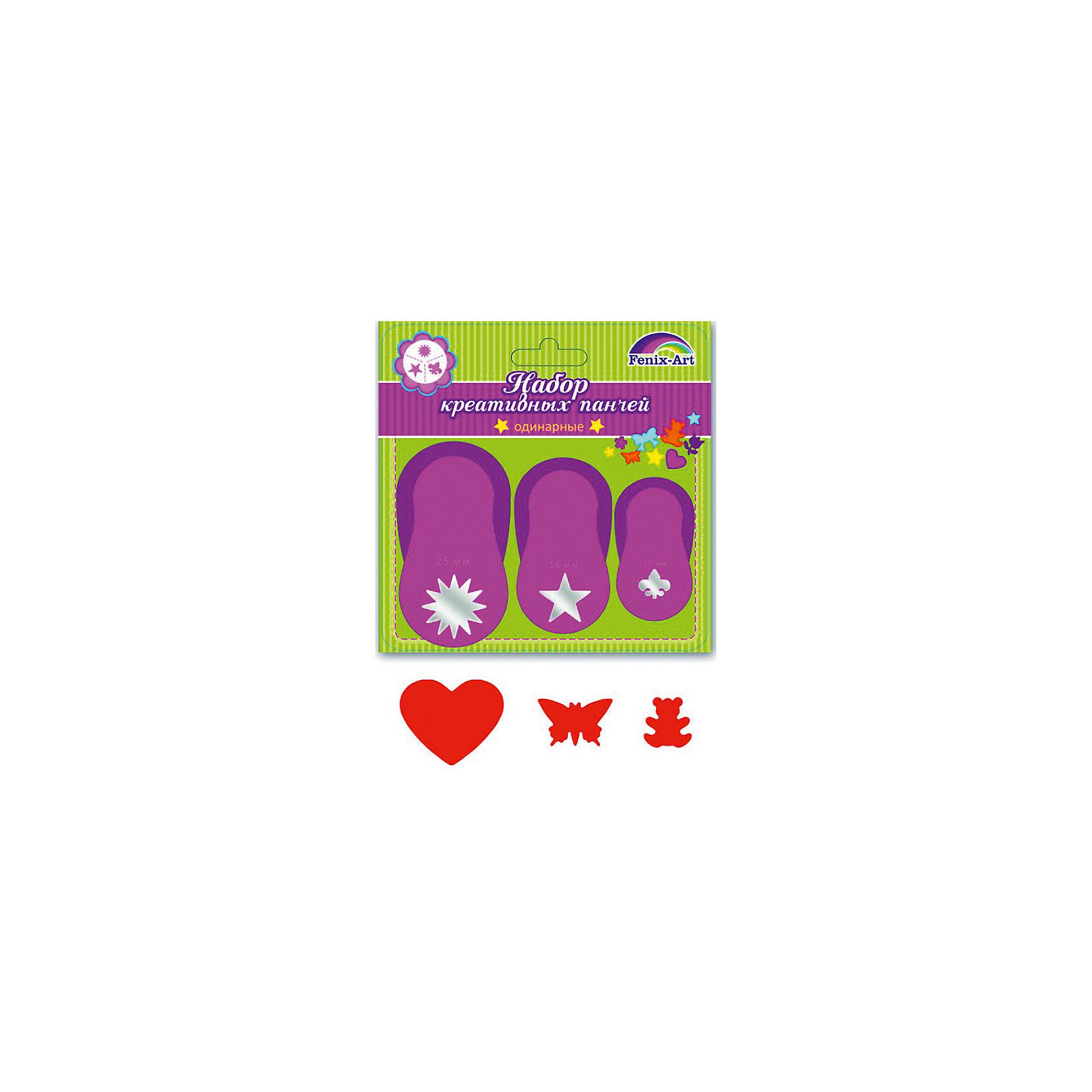 Феникс+ Панчи-дыроколы Сердце, бабочка, мишка, 3 шт дыроколы