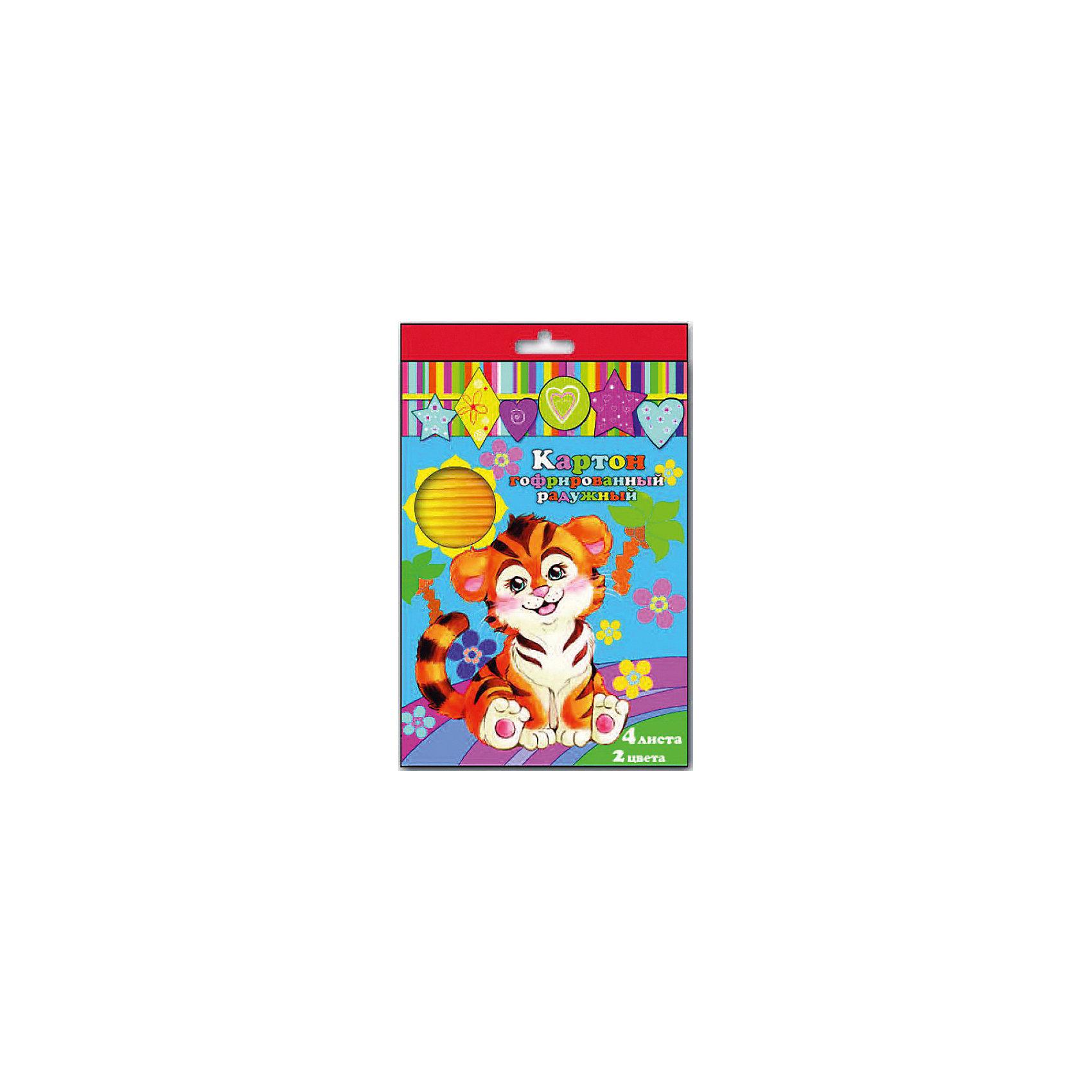 Феникс+ Картон цветной радужный, 4 листа фетр цветной с рисунком слоники 4 листа 4 цвета с3645 02