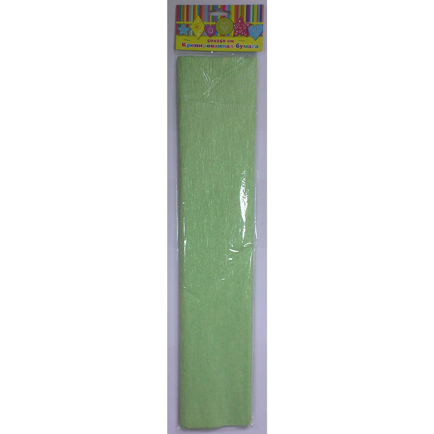 Бумага зеленая перламутровая крепированная