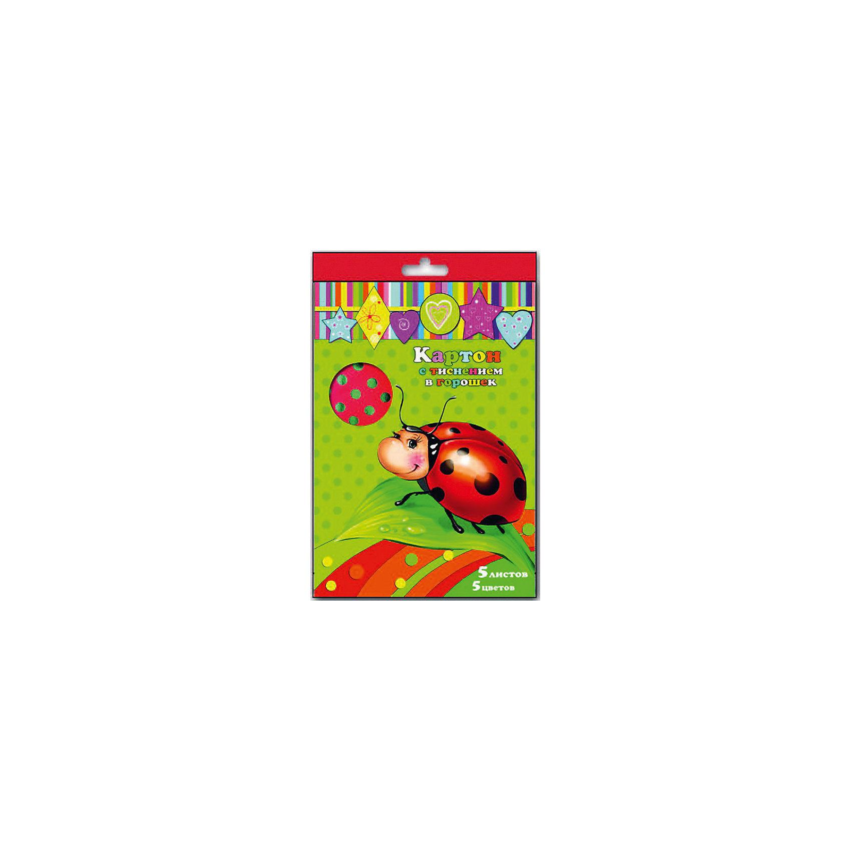 Картон с тиснением в горошек, 5 листов, 5 цвЭто красивый набор картона с тиснением, который обязательно пригодится Вашему малышу в новом учебном году!<br><br>Дополнительная информация:<br><br>- Возраст: от 3 лет.<br>- 5 листов.<br>- 5 цветов: красный, желтый, зеленый, синий, малиновый.<br>- Размеры: 21х29,7 см.<br>- Материал: картон.<br>- Размер упаковки: 30х20х0,1 см.<br>- Вес в упаковке: 70 г.<br><br>Купить картон с тиснением в горошек, можно в нашем магазине.<br><br>Ширина мм: 300<br>Глубина мм: 220<br>Высота мм: 1<br>Вес г: 70<br>Возраст от месяцев: 36<br>Возраст до месяцев: 2147483647<br>Пол: Унисекс<br>Возраст: Детский<br>SKU: 4943516
