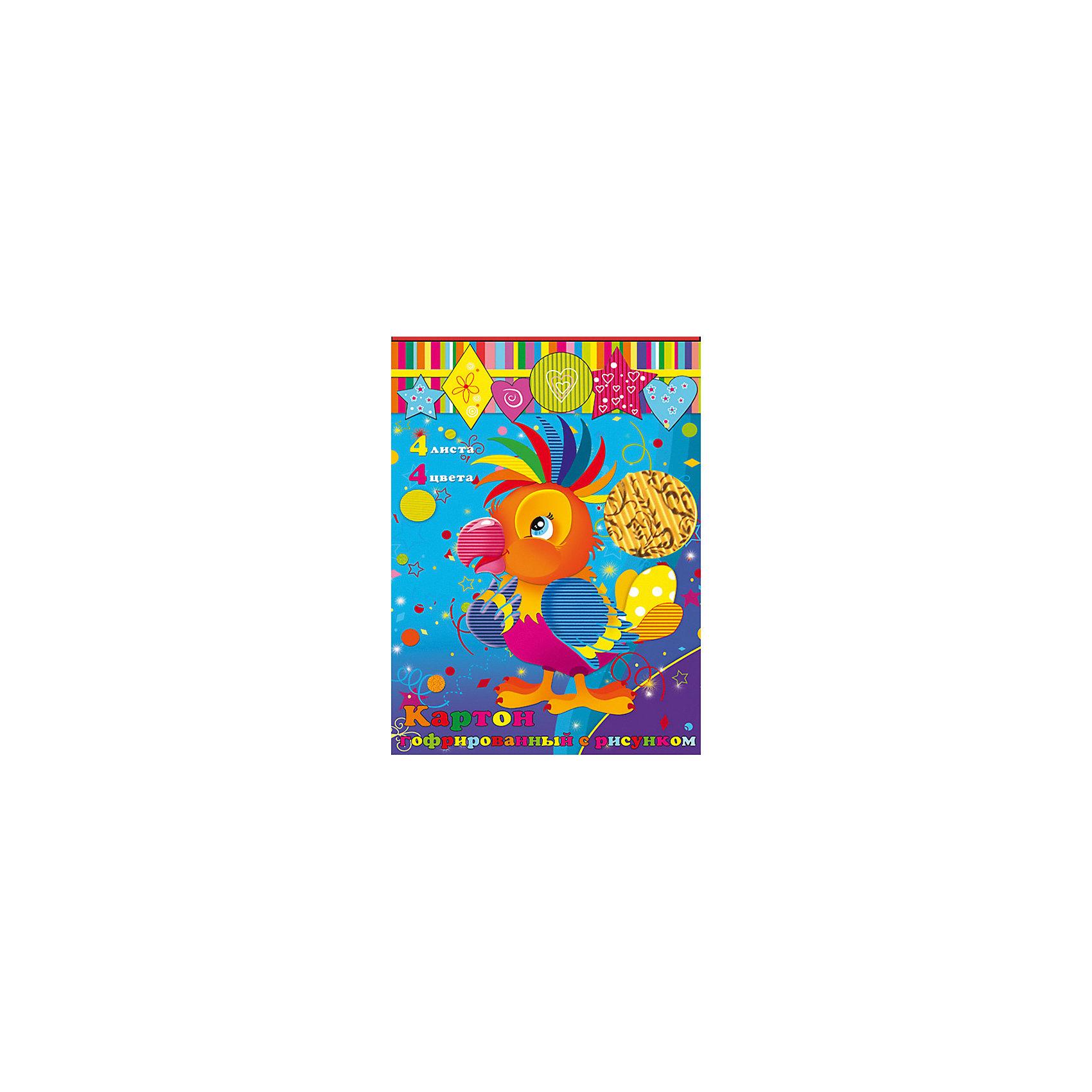 Феникс+ Картон гофрированный, 4 листа феникс гофрированный картон для хобби и рукоделия радужный 4 листа