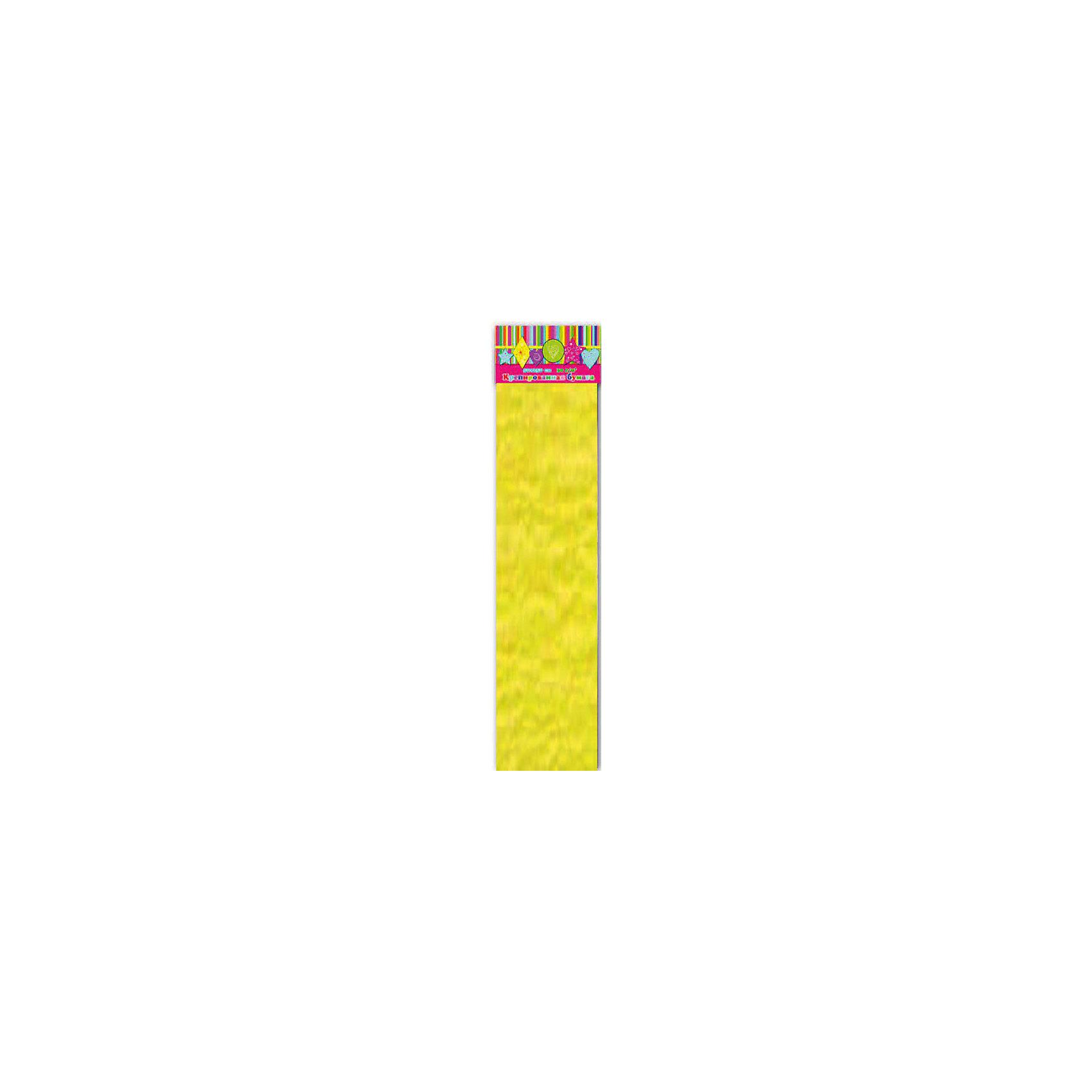 Бумага желтая эластичная крепированнаяИзумительная крепированная бумага желтого цвета, из нее Ваш малыш сможет сделать множество ярких цветов или другие поделки.<br><br>Дополнительная информация:<br><br>- Возраст: от 3 лет.<br>- 1 лист.<br>- Цвет: желтый<br>- Материал: бумага.<br>- Размеры: 50х250 см.<br>- Размер упаковки: 51х10х1,5 см.<br>- Вес в упаковке: 40 г. <br><br>Купить крепированную бумагу в желтом цвете, можно в нашем магазине.<br><br>Ширина мм: 510<br>Глубина мм: 100<br>Высота мм: 5<br>Вес г: 40<br>Возраст от месяцев: 36<br>Возраст до месяцев: 2147483647<br>Пол: Унисекс<br>Возраст: Детский<br>SKU: 4943577