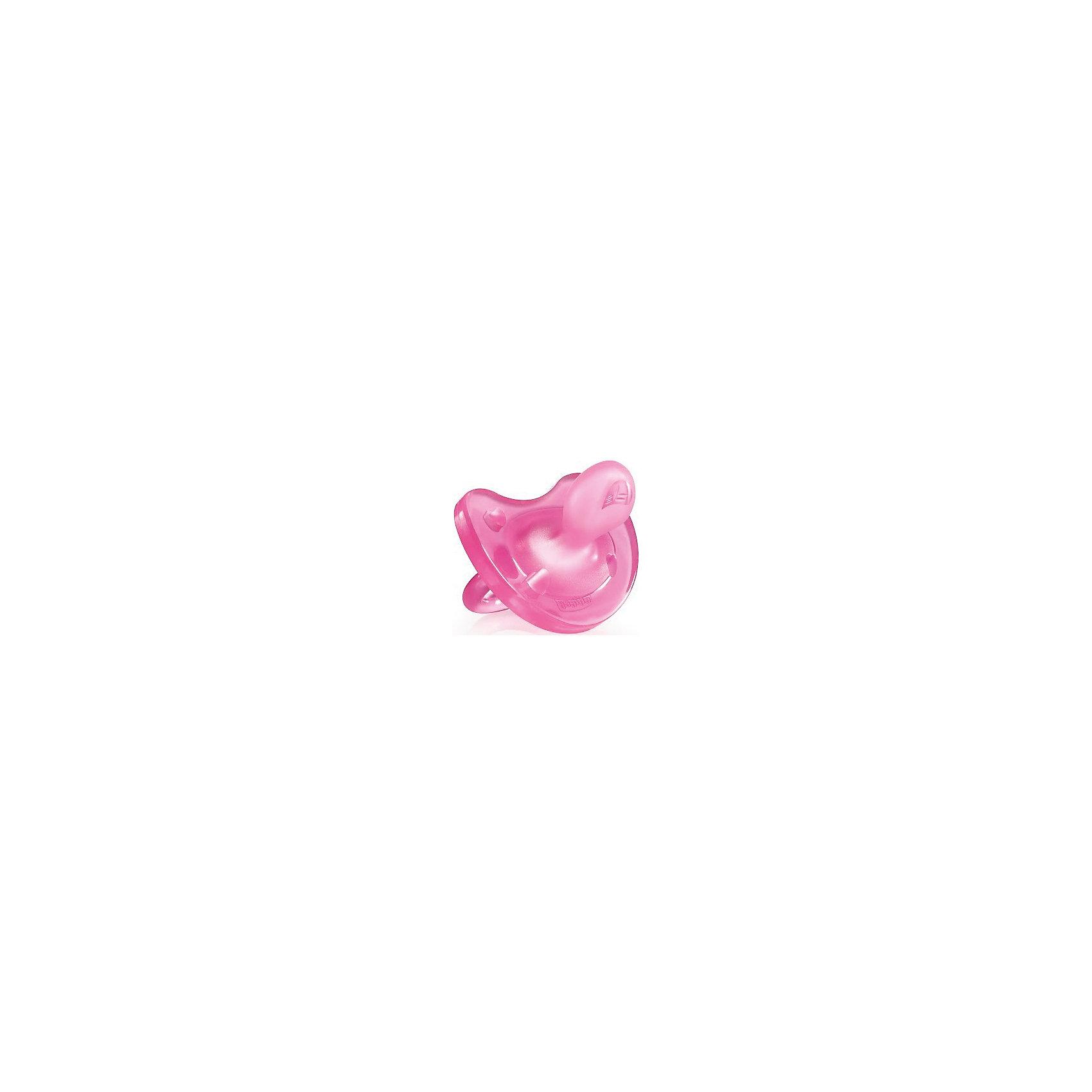 Силиконовая пустышка Physio Soft 6-12мес., CHICCO, розовый