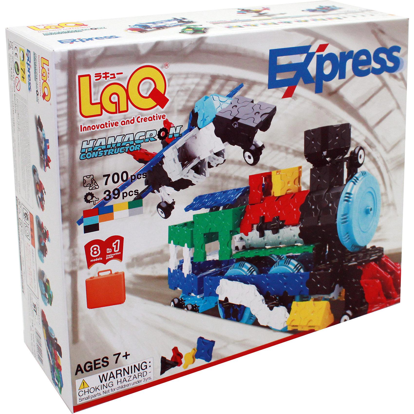 Конструктор Express, 739 деталей, LaQКонструктор Express состоит из 739 оригинальных деталей, из которых ребенок с легкостью сможет собрать различные транспортные средства, животных, цветы и деревья. В наборе имеются яркие детали с формой треугольника и квадрата, с пятью удобными боковыми креплениями, которые можно соединять как прямо, так и с наклоном. Игра с конструктором развивает воображение, мелкую моторику и усидчивость. Соединять детали невероятно просто, что позволит юному скульптору играть с удовольствием!<br><br>Дополнительная информация:<br>В наборе: 739 деталей, инструкция для 3D моделей<br>Материал: пластик<br>Размер упаковки: 32х25х8 см<br>Вес: 1125 грамм<br>Конструктор Express можно приобрести в нашем интернет-магазине.<br><br>Ширина мм: 320<br>Глубина мм: 80<br>Высота мм: 240<br>Вес г: 1330<br>Возраст от месяцев: 84<br>Возраст до месяцев: 1188<br>Пол: Унисекс<br>Возраст: Детский<br>SKU: 4944567