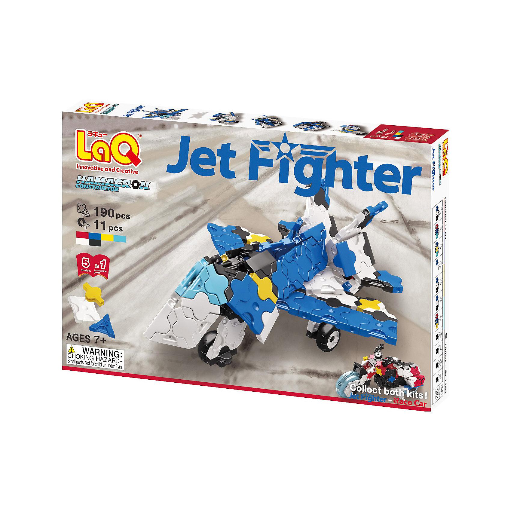 Конструктор Jet Fighter, 190 деталей, LaQПластмассовые конструкторы<br>Конструктор Jet Fighter состоит из 190 оригинальных деталей, из которых ребенок с легкостью сможет собрать различные транспортные средства. В наборе имеются яркие детали с формой треугольника и квадрата, с пятью удобными боковыми креплениями, которые можно соединять как прямо, так и с наклоном. Игра с конструктором развивает воображение, мелкую моторику и усидчивость. Соединять детали невероятно просто, что позволит детям с удовольствием!<br><br>Дополнительная информация:<br>В наборе: 190 деталей(6 цветов), инструкция <br>Материал: пластик<br>Размер упаковки: 24х16х4 см<br>Конструктор Jet Fighter можно приобрести в нашем интернет-магазине.<br><br>Ширина мм: 240<br>Глубина мм: 40<br>Высота мм: 160<br>Вес г: 257<br>Возраст от месяцев: 84<br>Возраст до месяцев: 1188<br>Пол: Мужской<br>Возраст: Детский<br>SKU: 4944575