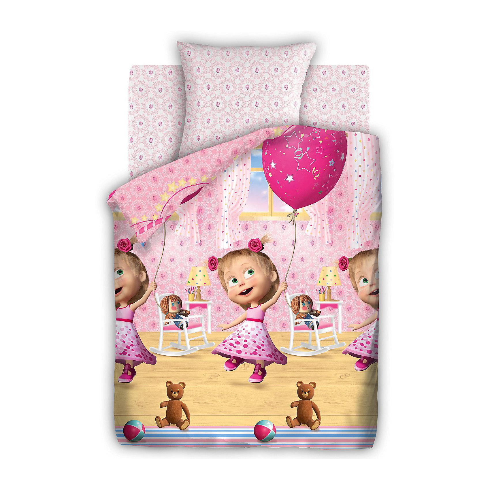 - Постельное белье 1,5 День Рождения, бязь, 50*70, Маша и Медведь постельное белье кпб mg 02 1 5 спальный 1100854