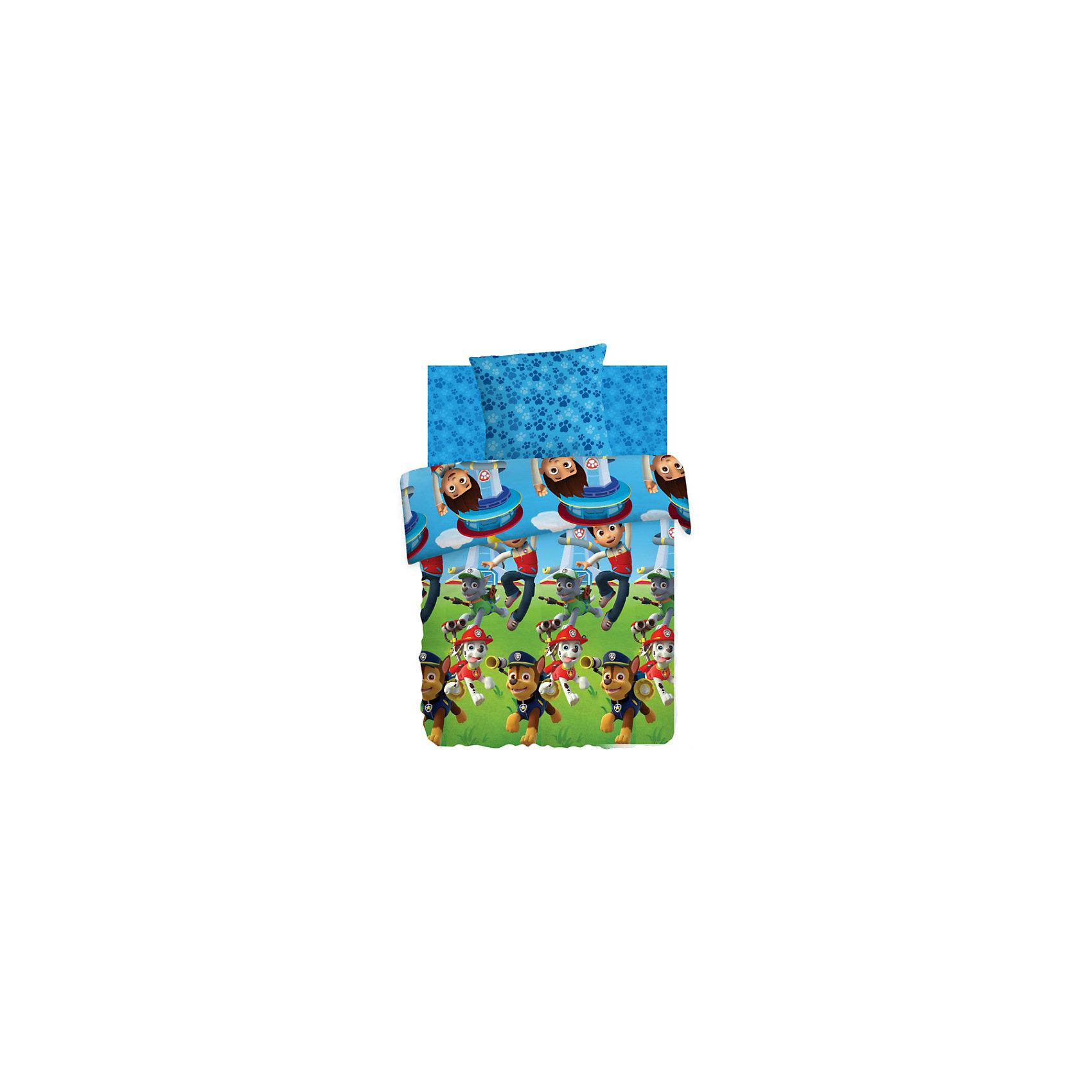 Постельное белье 1,5 Райдер и щенки, хлопок, Щенячий патруль, (70*70)