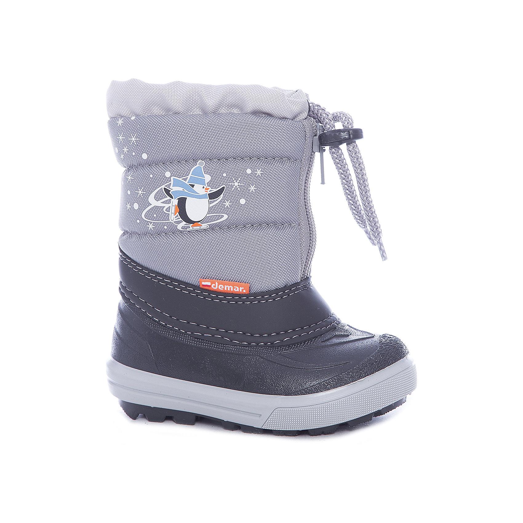 Сапоги  DEMARСапоги  DEMAR.<br>Зимняя модель. <br>Сапожки имеют утеплитель внутренней части изготовлен на основе натуральной овечьей шерсти, помогает выдерживать морозы до - 20 ° C. <br>Cапожки Demar очень легкие, вес до 400 гр.<br>Верх обуви - не продуваемый текстильный материал, имеющий высокие износостойкие и водоотталкивающие свойства. <br>Термокаучук, используется при изготовлении подошвы способствует сохранению эластичности даже при низких температурах и позволяет избежать скольжения. Сапожки легко одеваются.<br>Выполнены из супер легких материалов, вес их на столько легкий, что ребенок даже не заметит, что он уже обут.<br>Утепленные натуральной овечьей шерстью - гарантия теплых ножек!<br>Сделаны в Польше!<br>Рекомендуем для зимних прогулок и игр.<br>Сертифицированы, гарантия качества. <br>Состав: Материал верха: текстильный материал. Материал подкладки: натуральная шерсть.  Материал подошвы: ТЭП<br><br>Ширина мм: 257<br>Глубина мм: 180<br>Высота мм: 130<br>Вес г: 420<br>Цвет: серый<br>Возраст от месяцев: 21<br>Возраст до месяцев: 24<br>Пол: Унисекс<br>Возраст: Детский<br>Размер: 24/25,26/27,20/21,22/23<br>SKU: 4948786