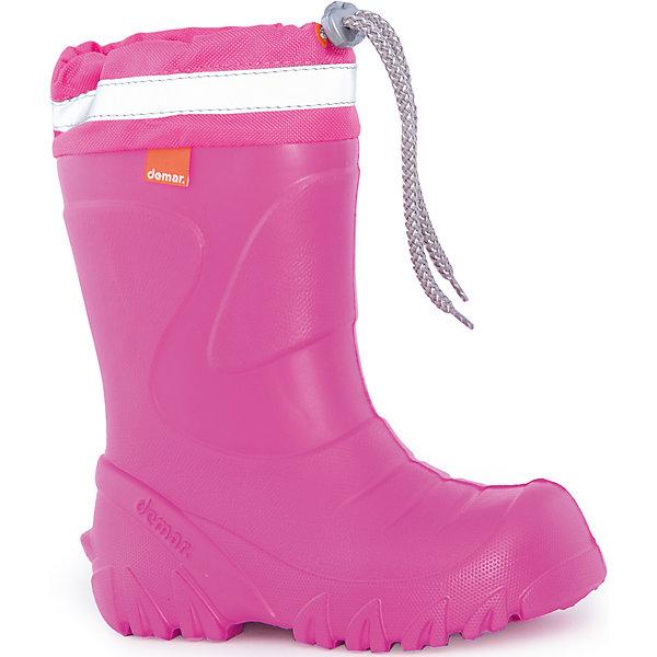 Резиновые сапоги  Mammut-S для девочки DEMARРезиновые сапоги<br>Характеристики товара:<br><br>• цвет: розовый<br>• материал верха: ЭВА<br>• материал подкладки: натуральная шерсть, съёмный чулок<br>• материал подошвы: ЭВА<br>• температурный режим: от 0° до - 20° С<br>• светоотражающая полоса<br>• верх не продувается<br>• стильный дизайн<br>• страна бренда: Польша<br>• страна изготовитель: Польша<br><br>Внимание! Цвет кулиски может отличатся от цвета на фото. <br><br>Осенью и весной, и даже зимой ребенку не обойтись без непромокаемых сапожек! Чтобы не пропустить главные удовольствия зыми и межсезонья, нужно запастись удобной обувью. Такие сапожки обеспечат ребенку необходимый для активного отдыха комфорт, а подкладка из шерсти позволит ножкам оставаться теплыми. Сапожки легко надеваются и снимаются, отлично сидят на ноге. Они удивительно легкие!<br><br>Обувь от польского бренда Demar - это качественные товары, созданные с применением новейших технологий и с использованием как натуральных, так и высокотехнологичных материалов. Обувь отличается стильным дизайном и продуманной конструкцией. Изделие производится из качественных и проверенных материалов, которые безопасны для детей.<br><br>Сапоги Mammut-S от бренда Demar (Демар) можно купить в нашем интернет-магазине.<br>Ширина мм: 257; Глубина мм: 180; Высота мм: 130; Вес г: 420; Цвет: розовый; Возраст от месяцев: 120; Возраст до месяцев: 132; Пол: Женский; Возраст: Детский; Размер: 34/35,22/23,24/25,26/27,28/29,30/31,32/33; SKU: 4948833;