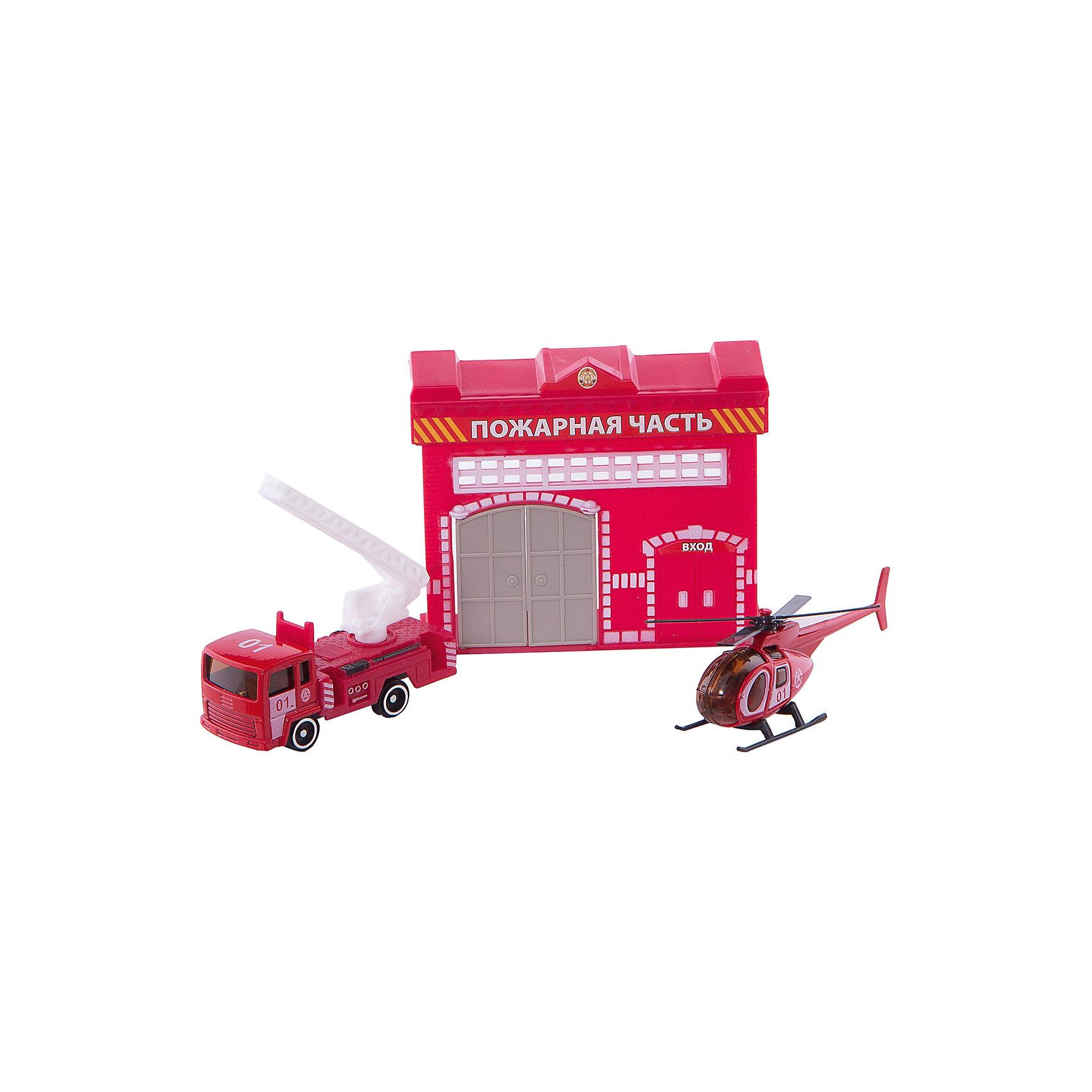 Набор Пожарная станция с машинкой 7,5см и вертолетом, ТЕХНОПАРКМашинки<br>Характеристики набора Пожарная станция с машинкой 7,5см и вертолетом:<br><br>- возраст: от 3 лет<br>- пол: для мальчиков<br>- цвет: красный.<br>- комплект: 1 пожарная часть, 1 пожарный вертолёт, 1 пожарная машина.<br>- материал: пластик, металл.<br>- размер упаковки: 3 * 24 * 21 см.<br>- упаковка: картонная коробка блистерного типа.<br>- страна обладатель бренда: Россия.<br>- бренд: Технопарк<br><br>Игровой набор Пожарная станция от торговой компании Технопарк состоит из 3 игрушек: машинки, вертолета и маленького домика. С этим комплектом ребенок сможет играть в пожарного, который борется с опасной стихией. С помощью вертолета можно увидеть воображаемый пожар, а на служебной машинке быстро добраться до места возгорания. После хорошо сделанной работы игрушечные пожарные могут отдохнуть в своей части.<br><br>Набор Пожарная станция с машинкой 7,5см и вертолетом торговой марки  Технопарк  можно купить в нашем интернет-магазине.<br><br>Ширина мм: 30<br>Глубина мм: 210<br>Высота мм: 240<br>Вес г: 190<br>Возраст от месяцев: 60<br>Возраст до месяцев: 9<br>Пол: Мужской<br>Возраст: Детский<br>SKU: 4950433