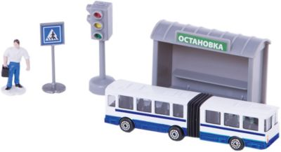 Набор Троллейбус 12см с остановкой и аксессуарами , ТЕХНОПАРК