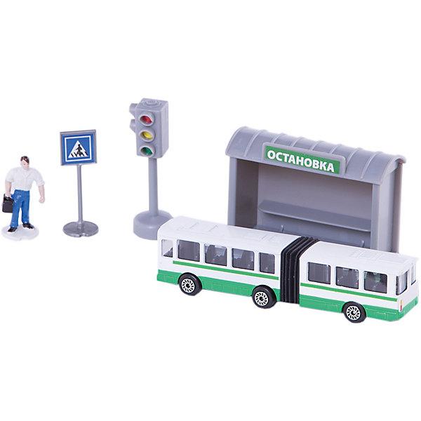 Набор Автобус 12см с остановкой и аксессуарами, ТЕХНОПАРКМашинки<br><br>Ширина мм: 40; Глубина мм: 190; Высота мм: 210; Вес г: 200; Возраст от месяцев: 60; Возраст до месяцев: 9; Пол: Мужской; Возраст: Детский; SKU: 4950437;