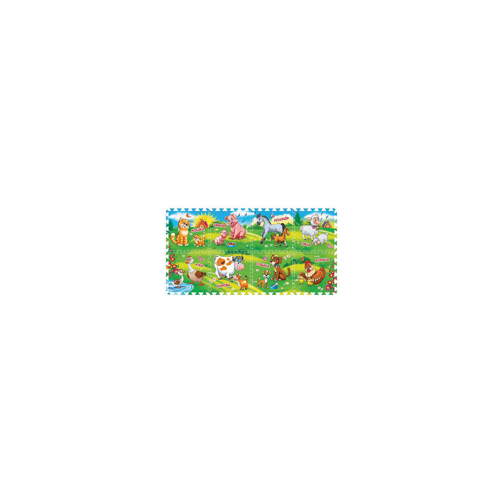 Коврик-пазл Домашние животные 8 сегментов, Играем вместеРазвивающие коврики<br>Коврик-пазл Домашние животные 8 сегментов, Играем вместе<br><br>Характеристики:<br><br>• красочная картинка<br>• обладает теплоизоляционными свойствами<br>• материал: вспененный пластик <br>• количество сегментов: 8<br>• размер сегмента: 31,5х1х31,5 см<br>• размер упаковки: 32х8х32 см<br>• вес: 600 грамм<br><br>Игра с ковриком-пазлом - очень увлекательное и полезное занятие. Ребенок сможет самостоятельно собрать коврик из восьми деталей, ориентируясь на картинку. После того, как пазл будет собран, кроха с удовольствием будет играть на коврике и даже придумает интересную историю про домашних животных. Коврик можно использовать не только дома, но и на пляже или во время прогулки. Такая занимательная игра непременно понравится ребенку!<br><br>Коврик-пазл Домашние животные 8 сегментов, Играем вместе вы можете купить в нашем интернет-магазине.<br><br>Ширина мм: 80<br>Глубина мм: 320<br>Высота мм: 320<br>Вес г: 580<br>Возраст от месяцев: 12<br>Возраст до месяцев: 3<br>Пол: Унисекс<br>Возраст: Детский<br>SKU: 4950460