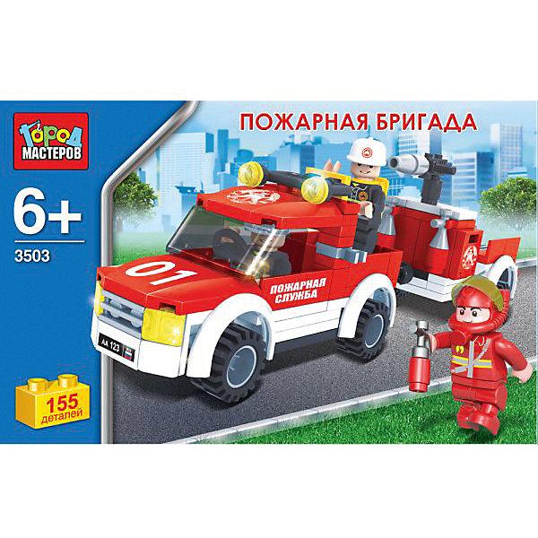 Конструктор Пожарная бригада, 155дет., Город мастеровПластмассовые конструкторы<br>Из 155 деталей данного набора ребенок сможет собрать автомобиль пожарной бригады.&amp;nbsp;<br><br>Сделан из безопасного, яркого и прочного пластика.&amp;nbsp;<br><br>В комплекте к конструктору идёт фигурка спасателя, она сделает игровой процесс более увлекательным.&amp;nbsp;<br><br>Развивает усидчивость, мелкую моторику рук, фантазию.&amp;nbsp;<br><br>Рекомендовано детям старше 6-ти лет.&amp;nbsp;<br><br>Совместим с моделями конструкторов мировых производителей.<br>Ширина мм: 50; Глубина мм: 160; Высота мм: 250; Вес г: 240; Возраст от месяцев: 72; Возраст до месяцев: 9; Пол: Мужской; Возраст: Детский; SKU: 4950469;