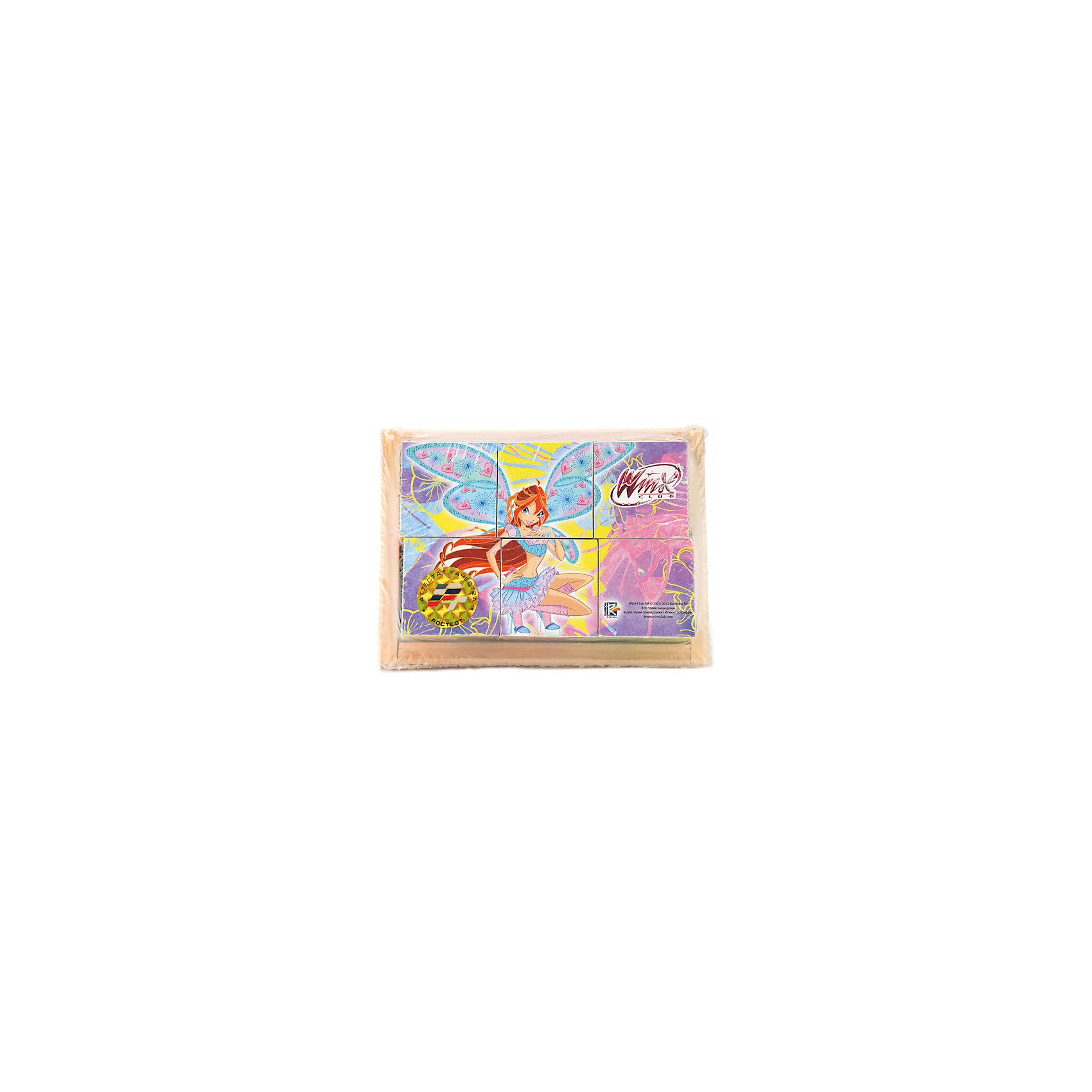 Играем вместе Кубики Winx (6 кубиков), деревянные, Играем вместе комплект sapsan старт
