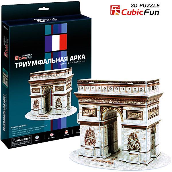 Пазл 3D Триумфальная арка (Франция), CubicFun3D пазлы<br>Cubic Fun C045h Кубик фан Триумфальная арка (Париж)<br>Серия шедевры мировой архитектуры Триумфальная арка (Париж). Знаменитая триумфальная арка, расположенная на площади Шарля де Голля, в верхней части Елисейских полей. Во время строительства она находилась за чертой города. Сооружена она была в 1806—1836 годах по распоряжению Наполеона архитектором Жаном Шальгреном.<br>Уровень сложности - 3<br>Функции:<br>- помогает в развитии логики и творческих способностей ребенка;<br>- помогает в формировании мышления, речи, внимания, восприятия и воображения;<br>- развивает моторику рук;<br>- расширяет кругозор ребенка и стимулирует к познанию новой информации;<br>Практические характеристики:<br>- обучающая, яркая и реалистичная модель;<br>- идеально и легко собирается без инструментов;<br>- увлекательный игровой процесс;<br>- тематический ассортимент;<br>- новый качественный материал (ламинированный пенокартон).<br>Ширина мм: 20; Глубина мм: 300; Высота мм: 220; Вес г: 317; Возраст от месяцев: 72; Возраст до месяцев: 192; Пол: Унисекс; Возраст: Детский; SKU: 4951137;