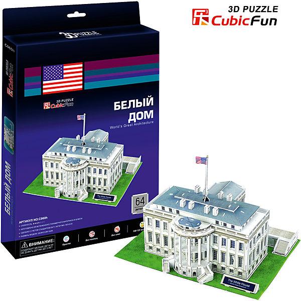 Пазл 3D Белый дом (США), CubicFun3D пазлы<br>Cubic Fun C060h Кубик фан Белый дом (Вашингтон).<br>В течение 200 лет Белый дом стоял как символ Президентства, правительства Соединенных Штатов, и американских людей. Его история началась, когда Президент Джордж Вашингтон подписал постановление конгресса в декабре 1790 года.<br>Уровень сложности - 3<br>Функции:<br>- помогает в развитии логики и творческих способностей ребенка;<br>- помогает в формировании мышления, речи, внимания, восприятия и воображения;<br>- развивает моторику рук;<br>- расширяет кругозор ребенка и стимулирует к познанию новой информации;<br>Практические характеристики:<br>- обучающая, яркая и реалистичная модель;<br>- идеально и легко собирается без инструментов;<br>- увлекательный игровой процесс;<br>- новый качественный материал (ламинированный пенокартон).<br>Ширина мм: 220; Глубина мм: 300; Высота мм: 20; Вес г: 329; Возраст от месяцев: 72; Возраст до месяцев: 192; Пол: Унисекс; Возраст: Детский; SKU: 4951139;