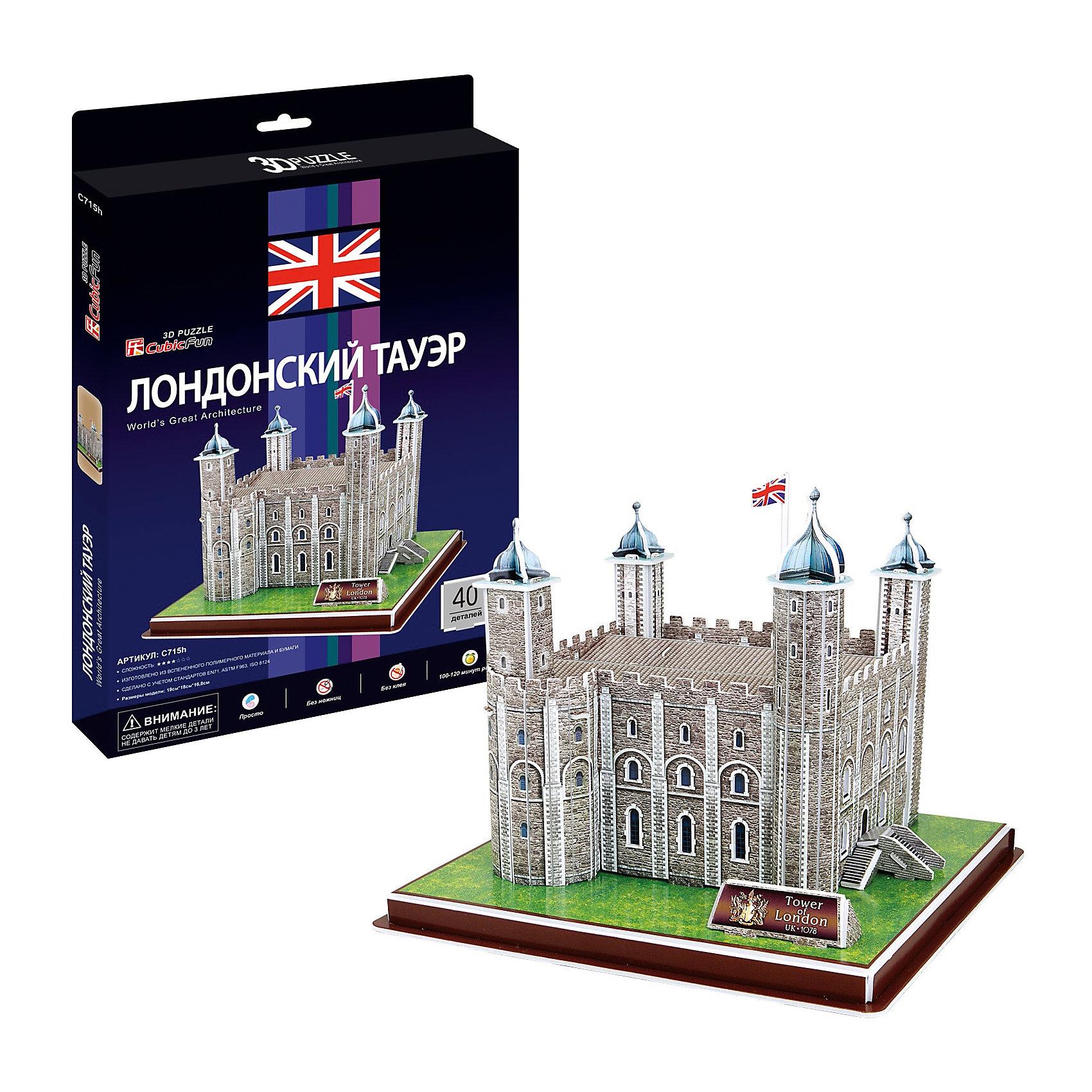 Пазл 3D Лондонский Тауэр (Великобритания), CubicFun3D пазлы<br>Cubic Fun C715h Кубик фан Лондонский Тауэр (Великобритания)<br>Лондонский Тауэр — крепость, возведённая на северном берегу реки Темза, исторический центр города Лондон. Одно из старейших исторических сооружений Великобритании, долгое время служившее резиденцией английских монархов.<br>Уровень сложности - 4.<br>Функции<br>- помогает в развитии логики и творческих способностей ребенка;<br>- помогает в формировании мышления, речи, внимания, восприятия и воображения;<br>- развивает моторику рук;<br>- расширяет кругозор ребенка и стимулирует к познанию новой информации.<br>Практические характеристики:<br>- обучающая, яркая и реалистичная модель;<br>- идеально и легко собирается без инструментов;<br>- увлекательный игровой процесс;<br>- тематический ассортимент;<br>- новый качественный материал (ламинированный пенокартон).<br><br>Ширина мм: 20<br>Глубина мм: 330<br>Высота мм: 220<br>Вес г: 283<br>Возраст от месяцев: 72<br>Возраст до месяцев: 192<br>Пол: Унисекс<br>Возраст: Детский<br>SKU: 4951144