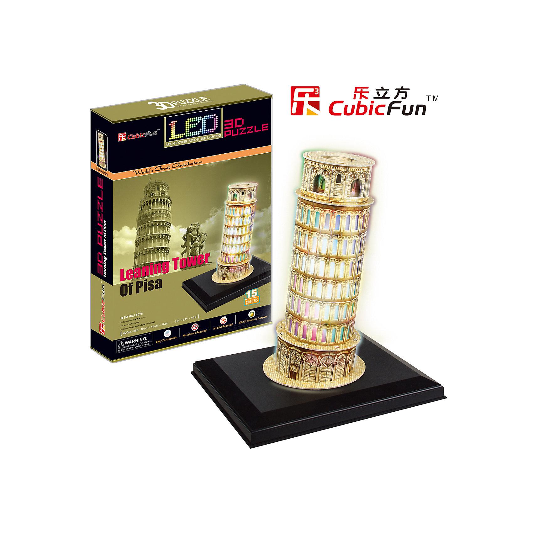 CubicFun Пазл 3D Пизанская башня с иллюминацией (Италия), CubicFun пазлы magic pazle объемный 3d пазл эйфелева башня 78x38x35 см