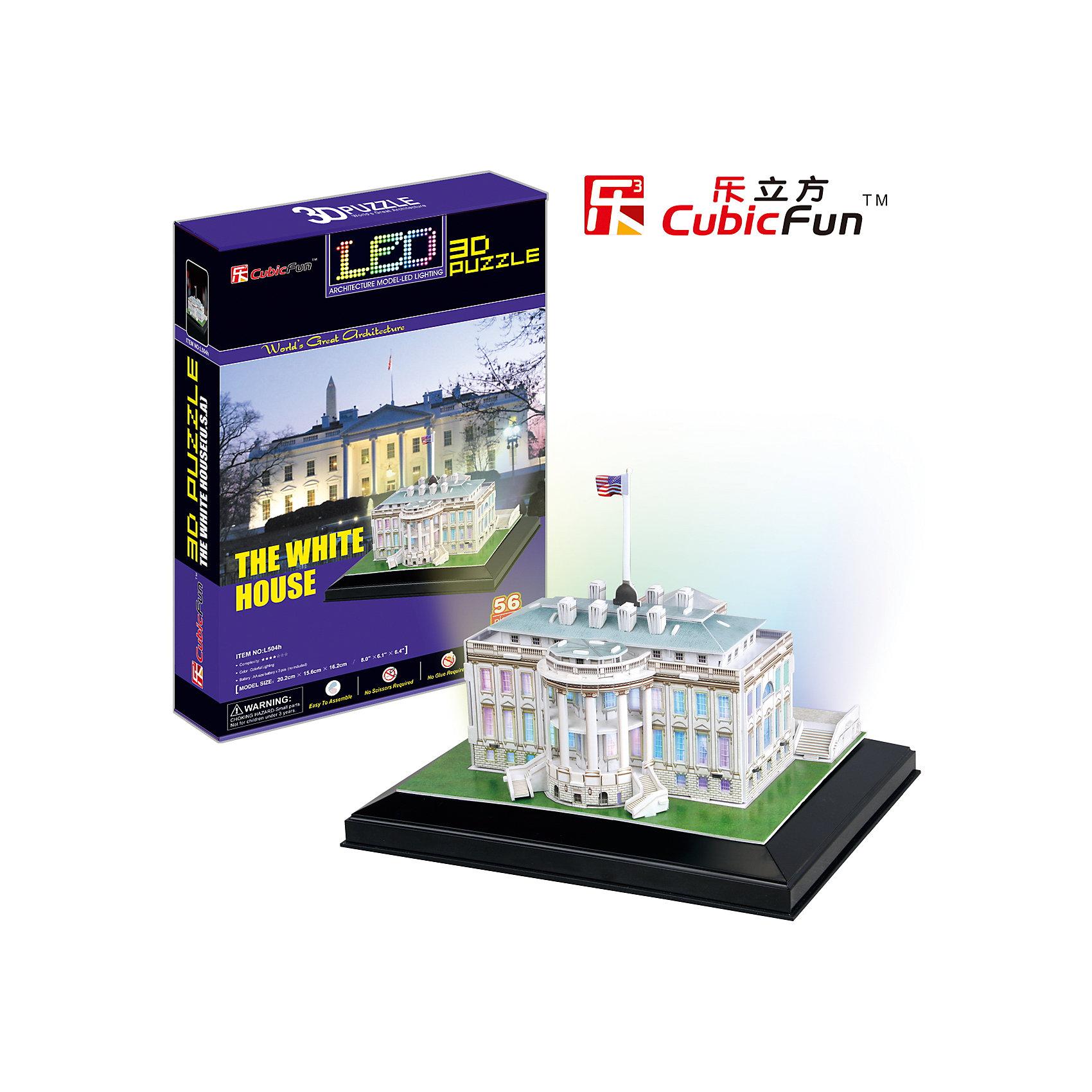 Пазл 3D Белый дом с иллюминацией  (США), CubicFunCubic Fun L504h Кубик фан Белый дом с иллюминацией  (Вашингтон)<br>В течение 200 лет Белый дом стоял как символ Президентства, правительства Соединенных Штатов, и американских людей. Его история началась, когда Президент Джордж Вашингтон подписал постановление конгресса в декабре 1790 года.  <br>Уровень сложности - 4.<br>Функции:<br>- помогает в развитии логики и творческих способностей ребенка;<br>- помогает в формировании мышления, речи, внимания, восприятия и воображения;<br>- развивает моторику рук;<br>- расширяет кругозор ребенка и стимулирует к познанию новой информации.<br>Практические характеристики:<br>- обучающая, яркая и реалистичная модель;<br>- идеально и легко собирается без инструментов;<br>- увлекательный игровой процесс;<br>- тематический ассортимент;<br>- новый качественный материал (ламинированный пенокартон).<br><br>Ширина мм: 220<br>Глубина мм: 330<br>Высота мм: 60<br>Вес г: 767<br>Возраст от месяцев: 72<br>Возраст до месяцев: 192<br>Пол: Унисекс<br>Возраст: Детский<br>SKU: 4951146