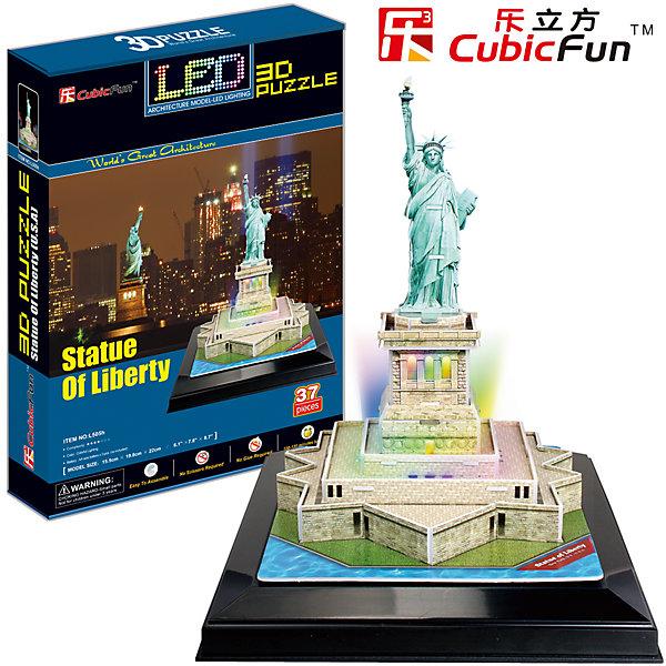 Пазл 3D Статуя Свободы с иллюминацией  (США), CubicFun3D пазлы<br>Cubic Fun L505h Кубик фан Статуя Свободы с иллюминацией  (США)<br>28 октября 1886 года президент Гроувер Кливленд от имени американского народа принял преподнесенную в дар статую и сказал: «Мы всегда будем помнить, что Свобода избрала это место своим домом, и алтарь ее никогда не покроет забвение».<br>Уровень сложности - 4.<br>Функции:<br>- помогает в развитии логики и творческих способностей ребенка;<br>- помогает в формировании мышления, речи, внимания, восприятия и воображения;<br>- развивает моторику рук;<br>- расширяет кругозор ребенка и стимулирует к познанию новой информации.<br>Практические характеристики:<br>- обучающая, яркая и реалистичная модель;<br>- идеально и легко собирается без инструментов;<br>- увлекательный игровой процесс;<br>- тематический ассортимент;<br>- новый качественный материал (ламинированный пенокартон).<br>Ширина мм: 220; Глубина мм: 330; Высота мм: 60; Вес г: 747; Возраст от месяцев: 72; Возраст до месяцев: 192; Пол: Унисекс; Возраст: Детский; SKU: 4951147;