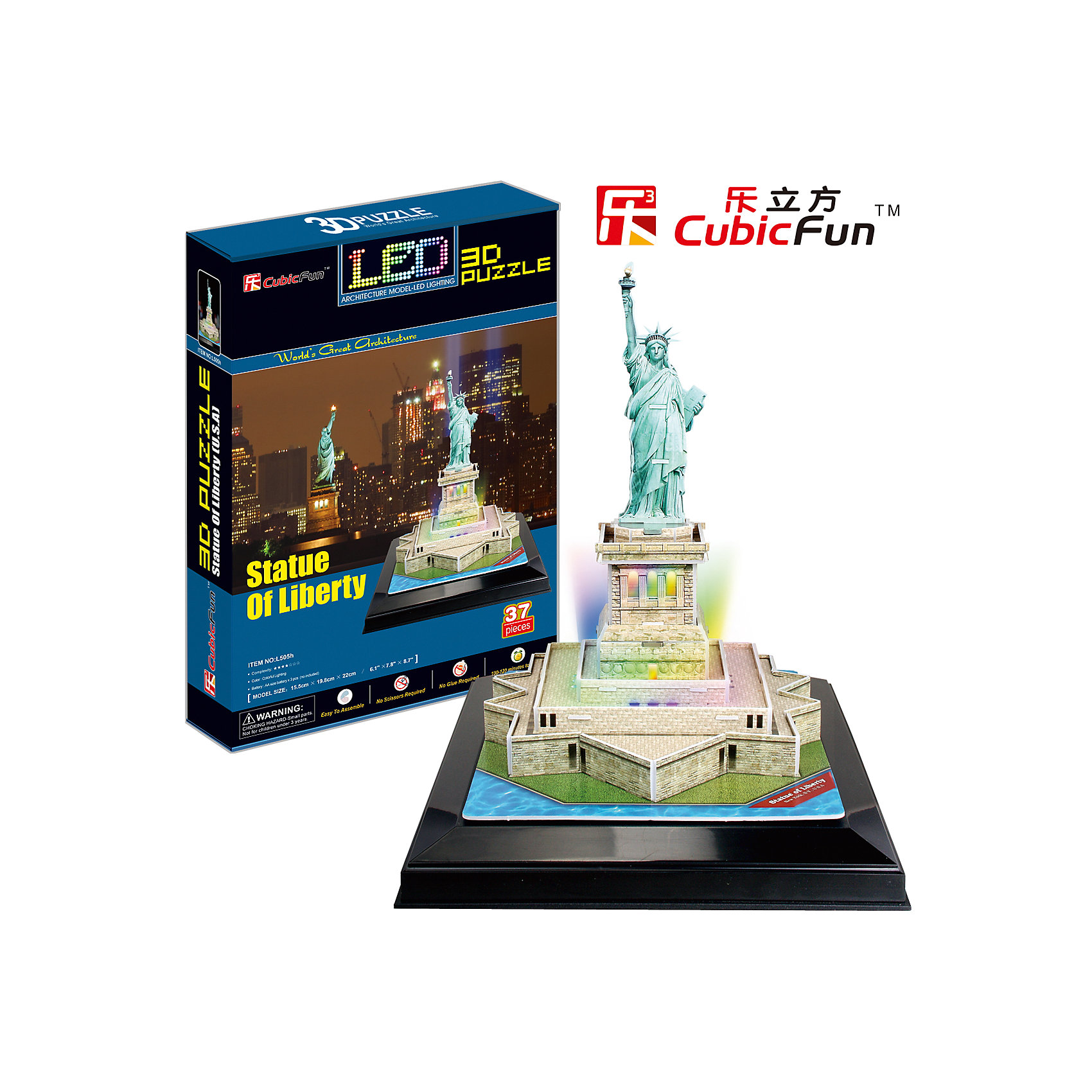 CubicFun Пазл 3D Статуя Свободы с иллюминацией  (США), CubicFun