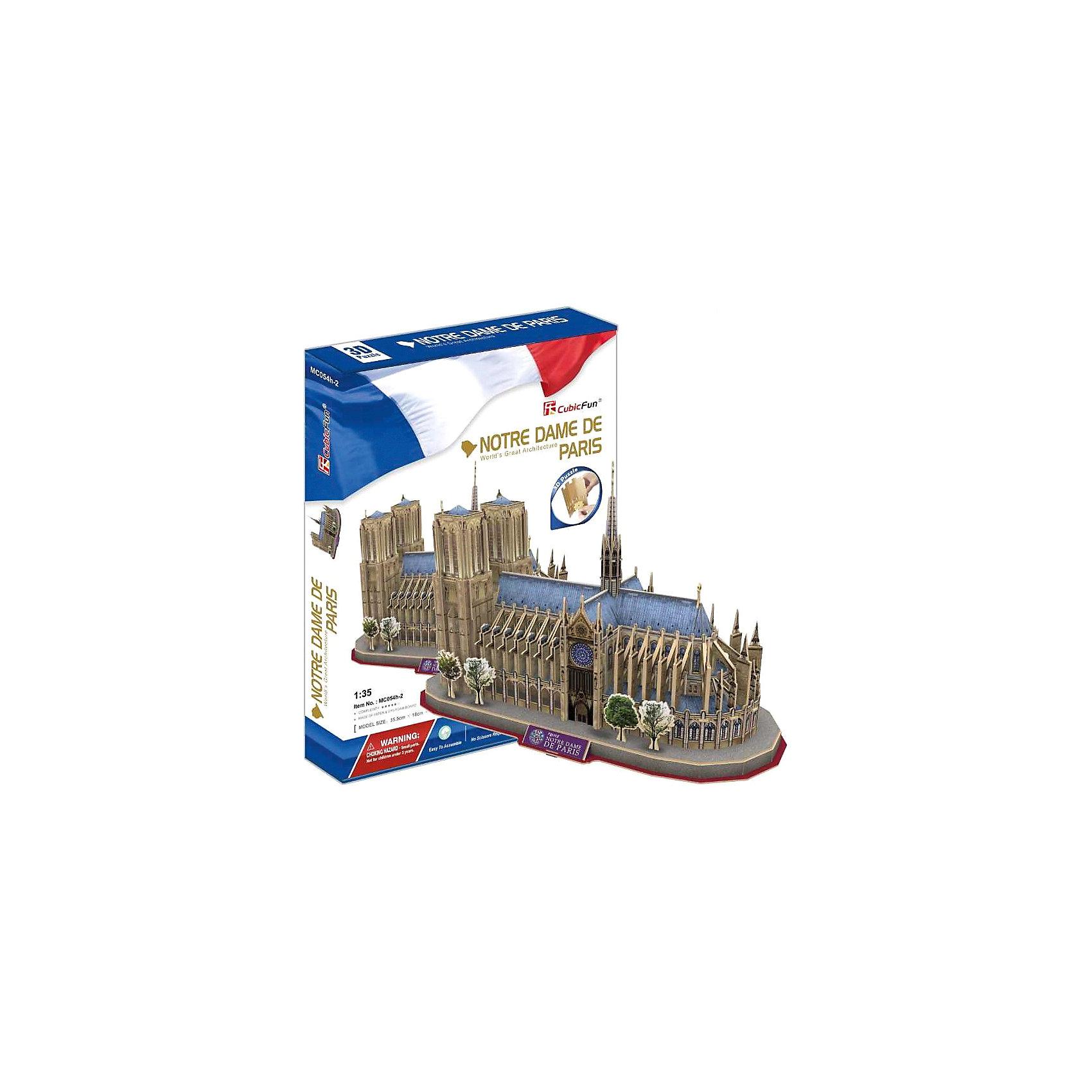 Пазл 3D Нотердам де Пари (Франция), CubicFunCubic Fun MC054h Кубик фан Нотр-Дам де Пари (Франция)<br>Собор Парижской Богоматери (Нотр-Дам) - географическое и духовное «сердце» Парижа. Собор с его великолепным внутренним убранством в течение многих веков служил местом проведения королевских бракосочетаний и императорских коронаций. В 1302 году в нём впервые собрался первый парламент Франции.<br>Уровень сложности - 5<br>Функции:<br>- помогает в развитии логики и творческих способностей ребенка;<br>- помогает в формировании мышления, речи, внимания, восприятия и воображения;<br>- развивает моторику рук;<br>- расширяет кругозор ребенка и стимулирует к познанию новой информации;<br>Практические характеристики:<br>- обучающая, яркая и реалистичная модель;<br>- идеально и легко собирается без инструментов;<br>- увлекательный игровой процесс;<br>- тематический ассортимент;<br>- новый качественный материал (ламинированный пенокартон).<br><br>Ширина мм: 30<br>Глубина мм: 330<br>Высота мм: 220<br>Вес г: 615<br>Возраст от месяцев: 72<br>Возраст до месяцев: 192<br>Пол: Унисекс<br>Возраст: Детский<br>SKU: 4951148