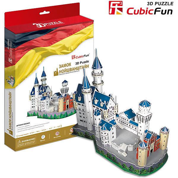 Пазл 3D Замок Нойшванштайн (Германия), CubicFun3D пазлы<br>Cubic Fun MC062h Кубик фан Замок Нойшванштайн (Германия)<br>Видом Нойшванштайна был очарован П.И.Чайковский  — и именно здесь, как полагают историки, у него родился замысел балета «Лебединое озеро». Замок Нойшванштайн, буквально: «Новый лебединый утес» — замок XIX века в баварских Альпах, около городка Фюссен и Замка Хоэншвангау, недалеко от австрийской границы.<br>Уровень сложности - 5<br>Функции:<br>- помогает в развитии логики и творческих способностей ребенка;<br>- помогает в формировании мышления, речи, внимания, восприятия и воображения;<br>- развивает моторику рук;<br>- расширяет кругозор ребенка и стимулирует к познанию новой информации;<br>Практические характеристики:<br>- обучающая, яркая и реалистичная модель;<br>- идеально и легко собирается без инструментов;<br>- увлекательный игровой процесс;<br>- тематический ассортимент;<br>- новый качественный материал (ламинированный пенокартон).<br>Ширина мм: 40; Глубина мм: 330; Высота мм: 220; Вес г: 592; Возраст от месяцев: 72; Возраст до месяцев: 192; Пол: Унисекс; Возраст: Детский; SKU: 4951149;