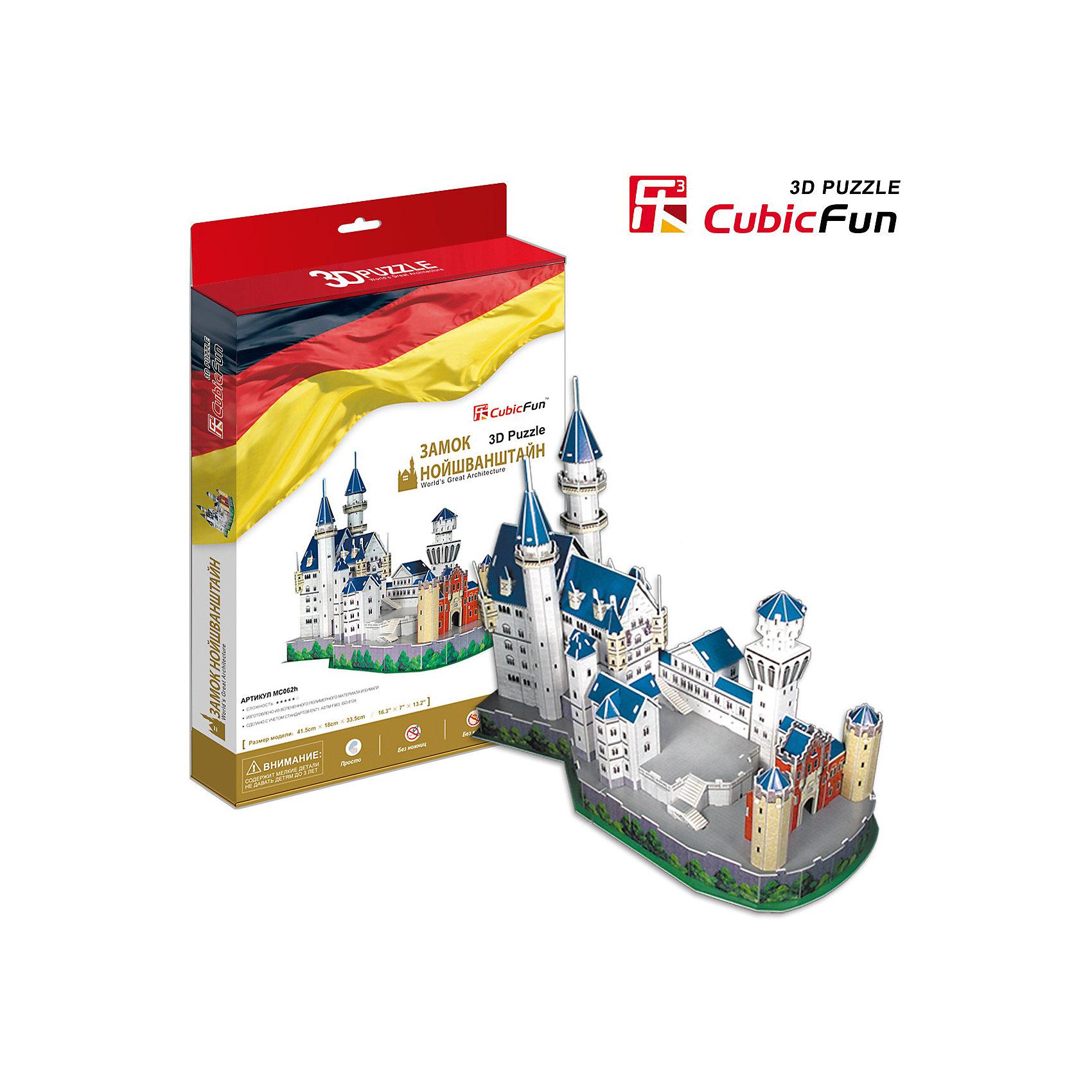 Пазл 3D Замок Нойшванштайн (Германия), CubicFunCubic Fun MC062h Кубик фан Замок Нойшванштайн (Германия)<br>Видом Нойшванштайна был очарован П.И.Чайковский  — и именно здесь, как полагают историки, у него родился замысел балета «Лебединое озеро». Замок Нойшванштайн, буквально: «Новый лебединый утес» — замок XIX века в баварских Альпах, около городка Фюссен и Замка Хоэншвангау, недалеко от австрийской границы.<br>Уровень сложности - 5<br>Функции:<br>- помогает в развитии логики и творческих способностей ребенка;<br>- помогает в формировании мышления, речи, внимания, восприятия и воображения;<br>- развивает моторику рук;<br>- расширяет кругозор ребенка и стимулирует к познанию новой информации;<br>Практические характеристики:<br>- обучающая, яркая и реалистичная модель;<br>- идеально и легко собирается без инструментов;<br>- увлекательный игровой процесс;<br>- тематический ассортимент;<br>- новый качественный материал (ламинированный пенокартон).<br><br>Ширина мм: 40<br>Глубина мм: 330<br>Высота мм: 220<br>Вес г: 592<br>Возраст от месяцев: 72<br>Возраст до месяцев: 192<br>Пол: Унисекс<br>Возраст: Детский<br>SKU: 4951149